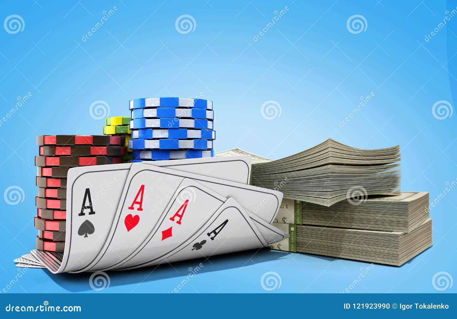 与金钱的赌博娱乐场在蓝色现实3d的芯片和卡片回报ob