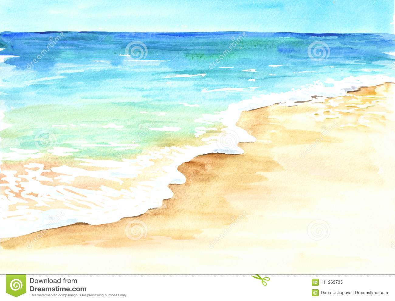 与金黄沙子和波浪的夏天热带海滩 手拉的水彩例证