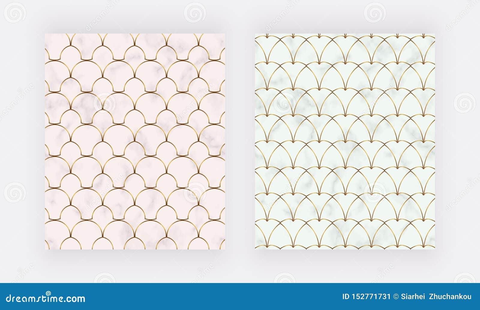 与金黄线的几何设计在大理石纹理