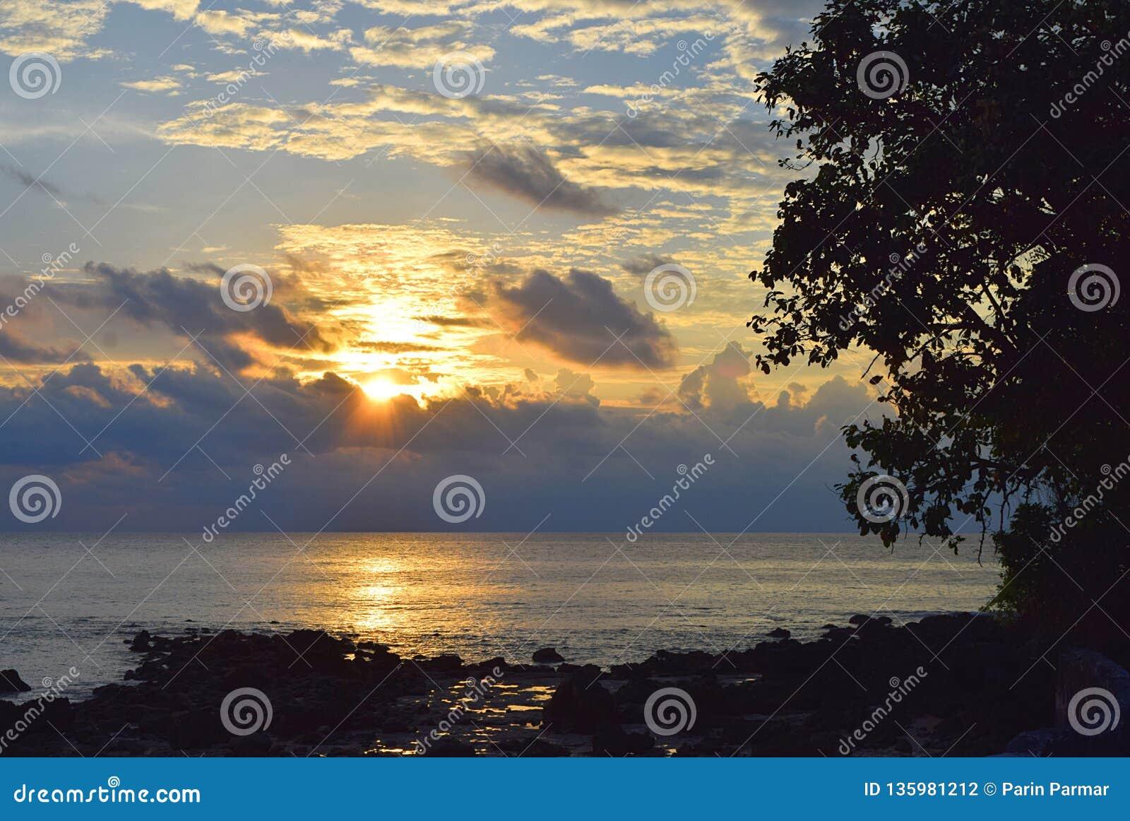 与金黄阳光的朝阳与在天空的云彩与在树海和等高的衬里和石头-尼尔海岛,安达曼