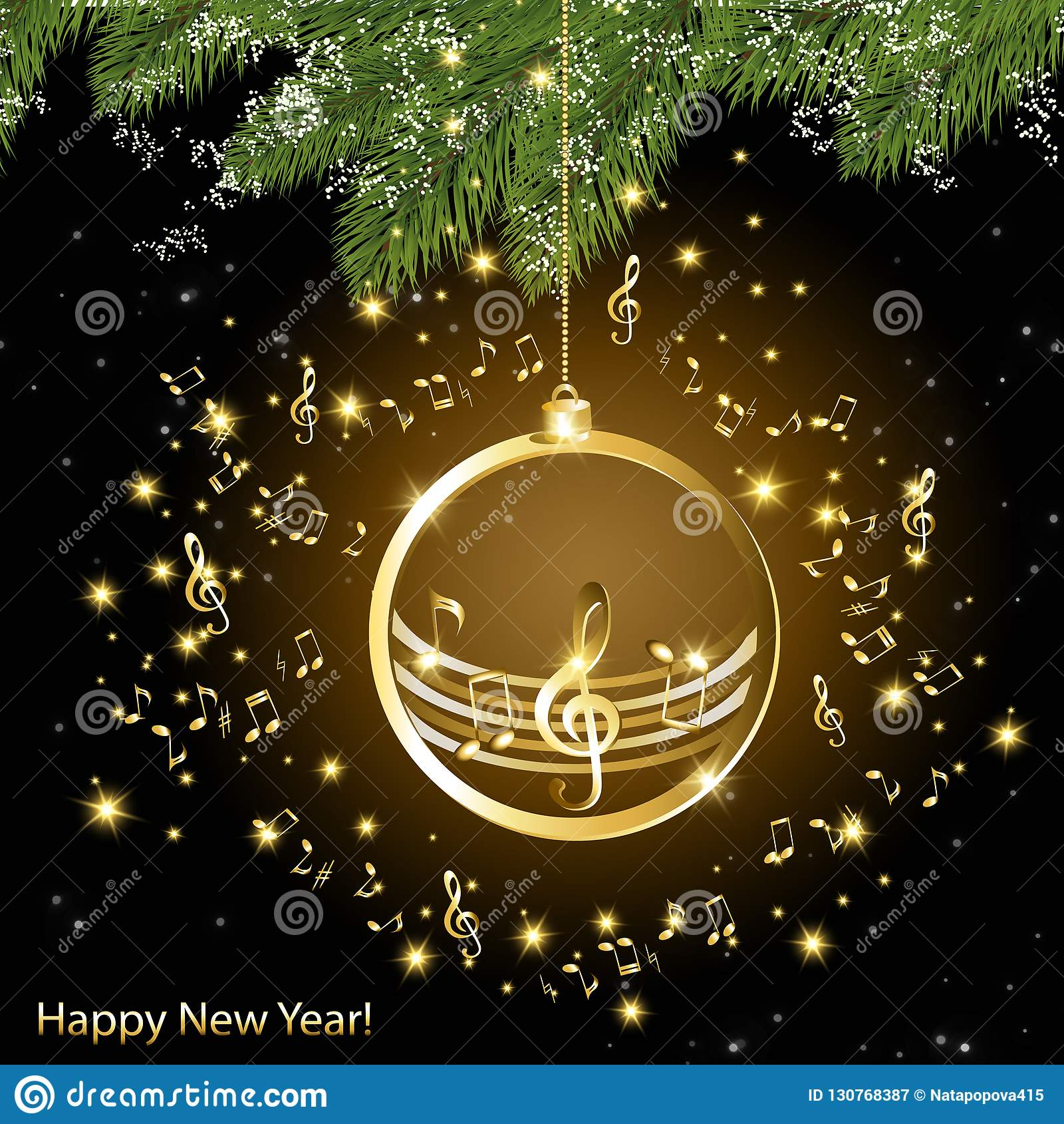 与金黄音符的圣诞卡片关于云杉分支