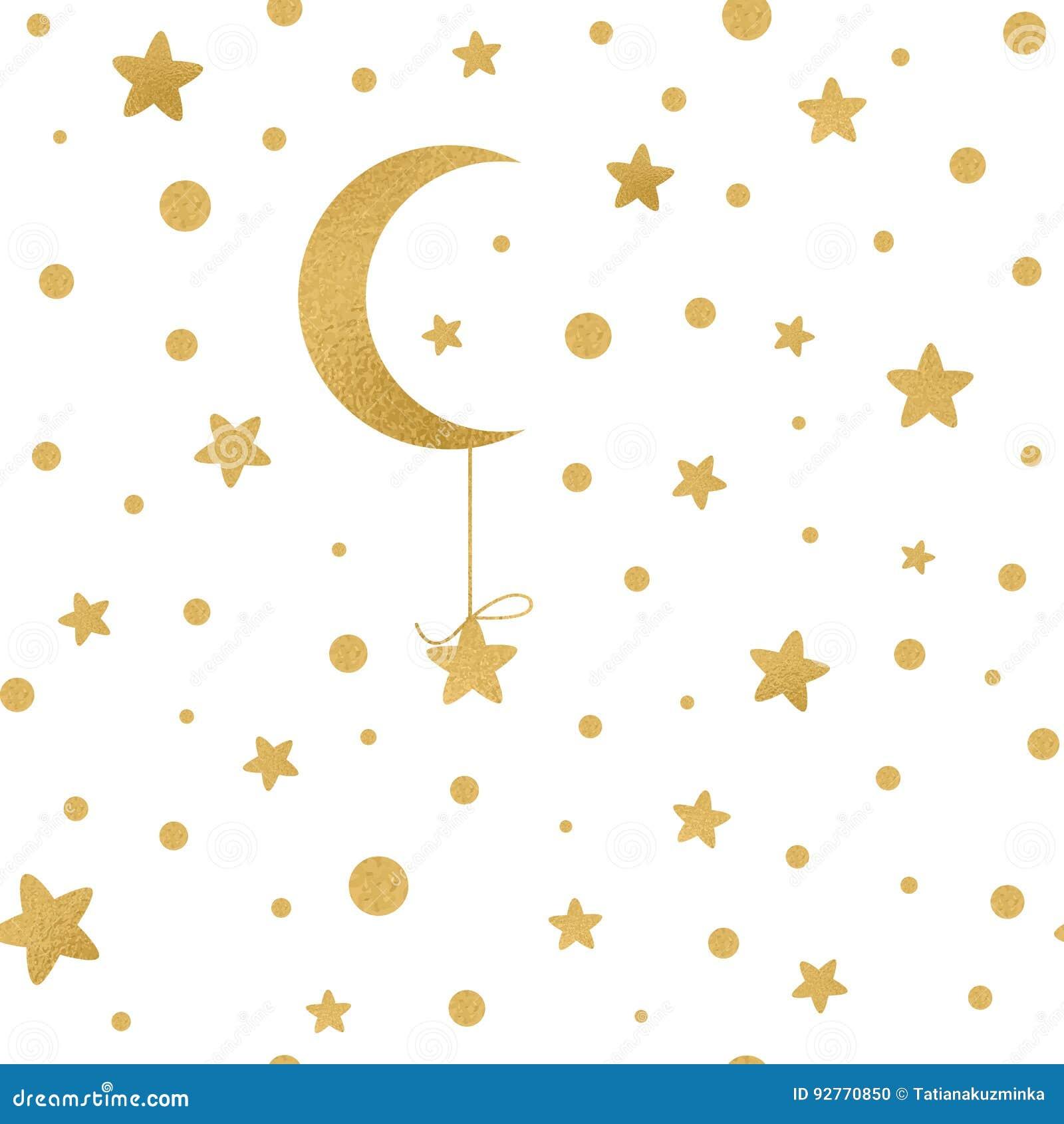 与金黄星的无缝的传染媒介样式,在白色的月亮
