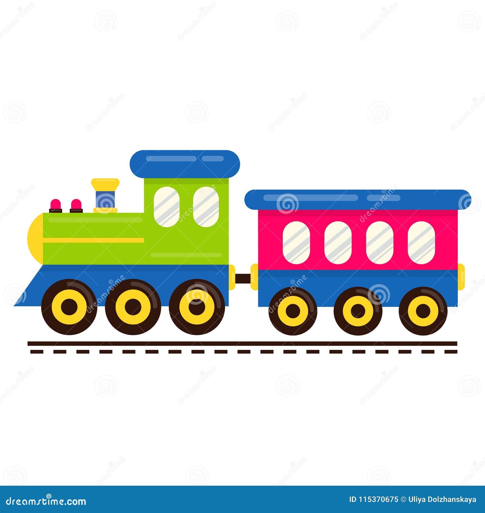 与铁路支架的动画片逗人喜爱的火车传染媒介在路轨