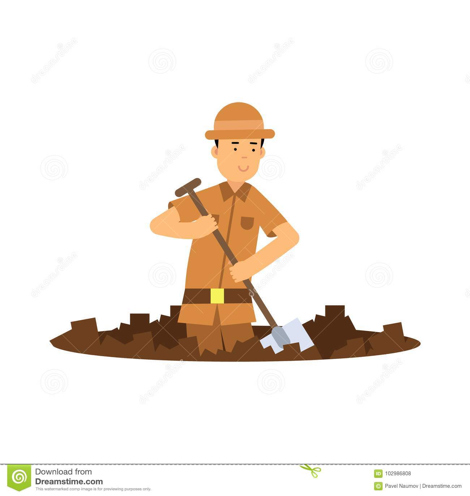 与铁锹的男孩考古学家字符开掘的坑