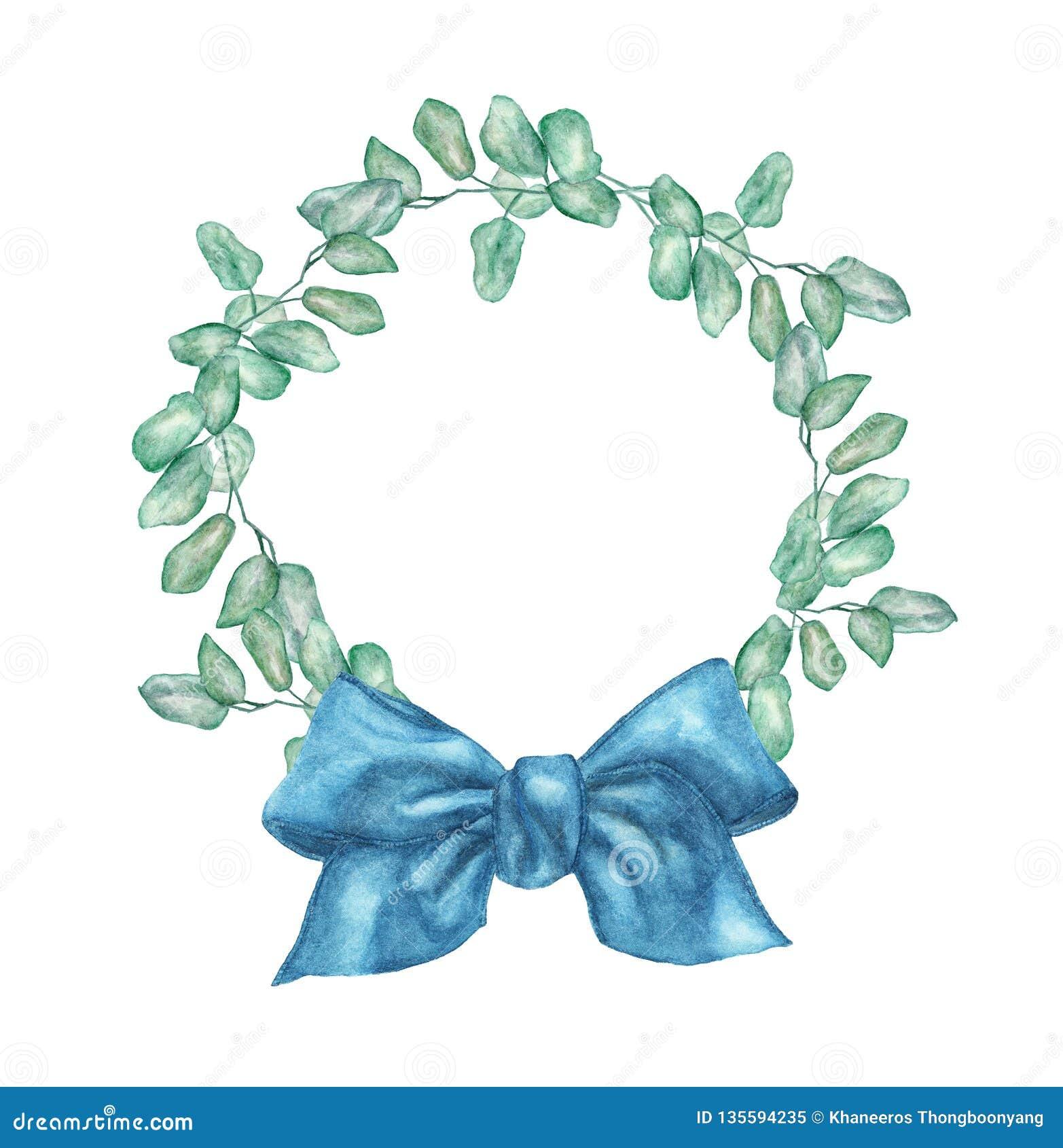 与银元玉树分支和蓝色弓的水彩花圈
