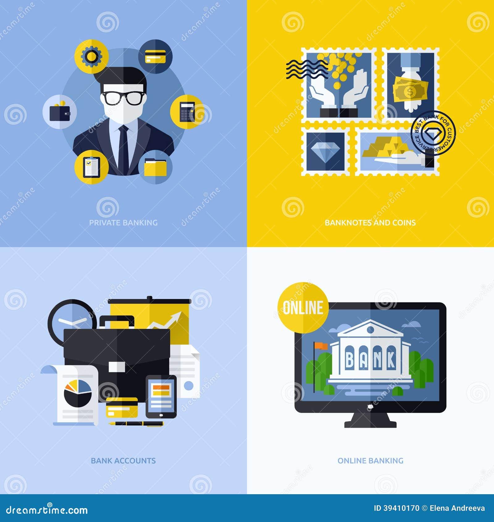 与银行业务标志和象的平的传染媒介设计