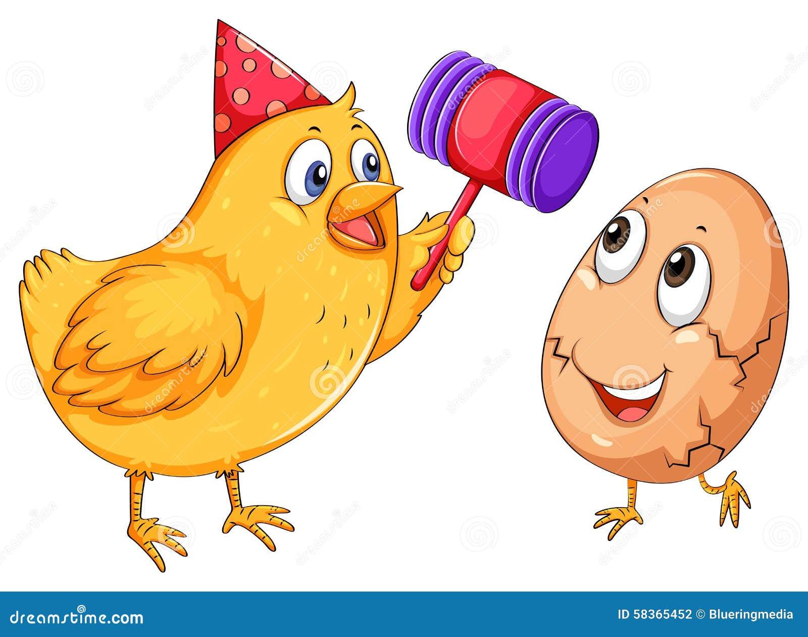 小女子漏鸡鸡_与锤子例证的鸡裂化的鸡蛋.