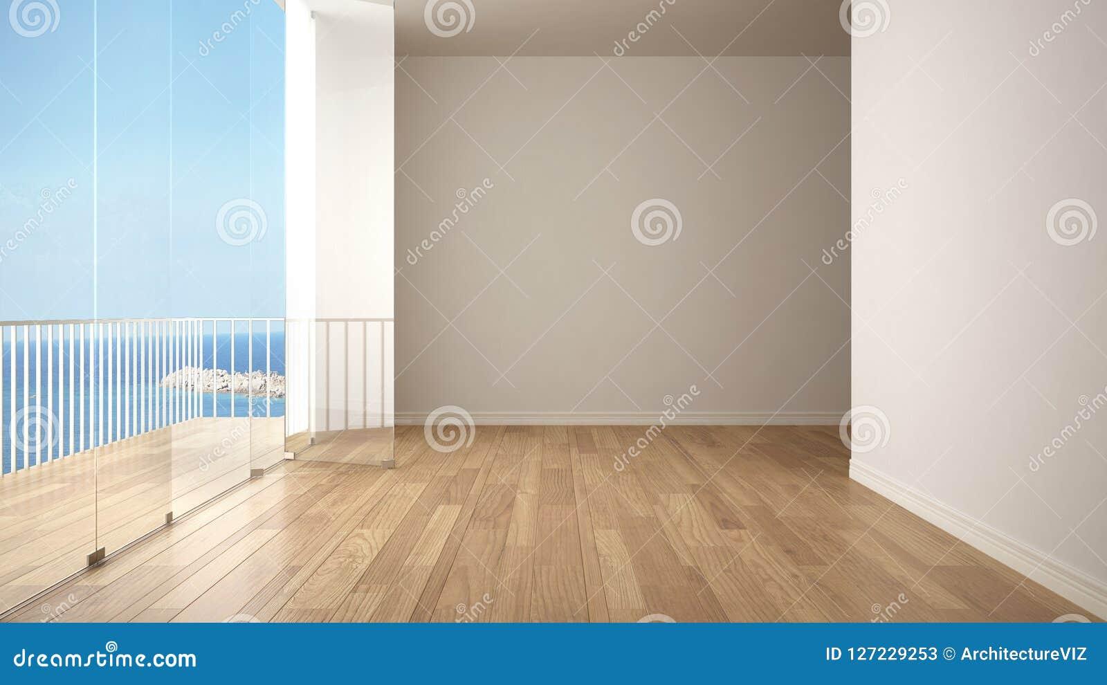 与镶花地板和大全景大阳台的空的内部 海有蓝天的海洋全景在背景中 Eco房子interio