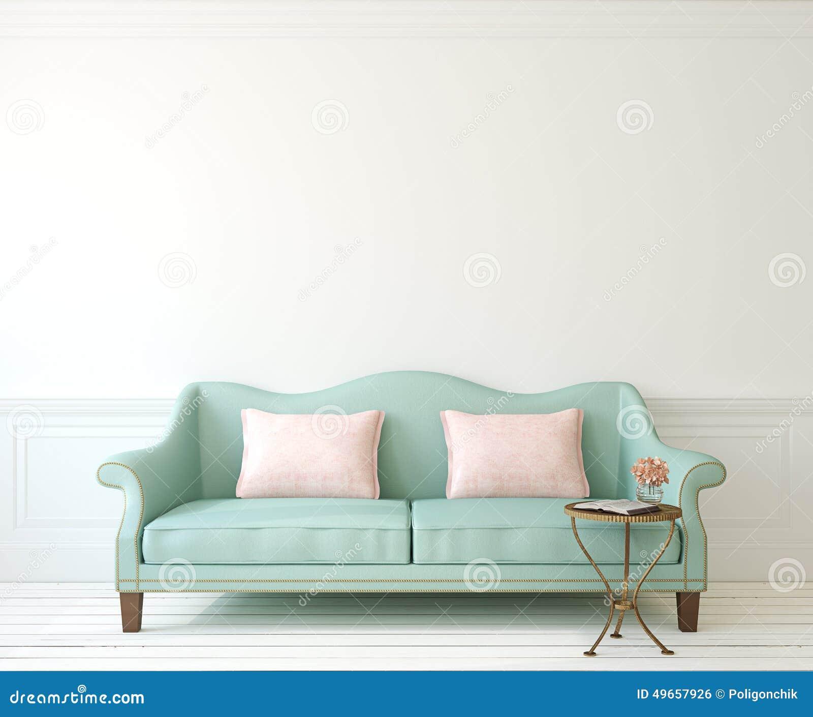 与长沙发的内部