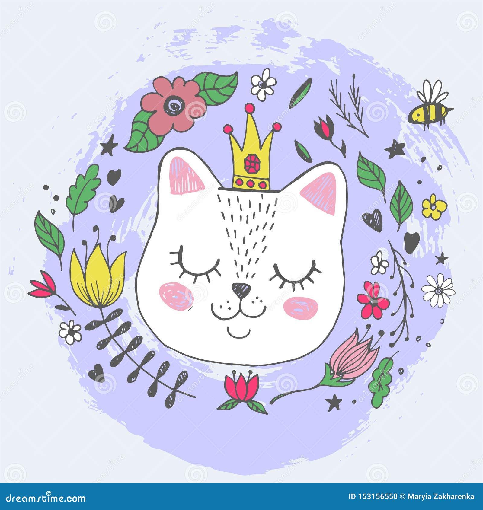 与闪烁的冠,花的逗人喜爱的kawaii猫面孔 r