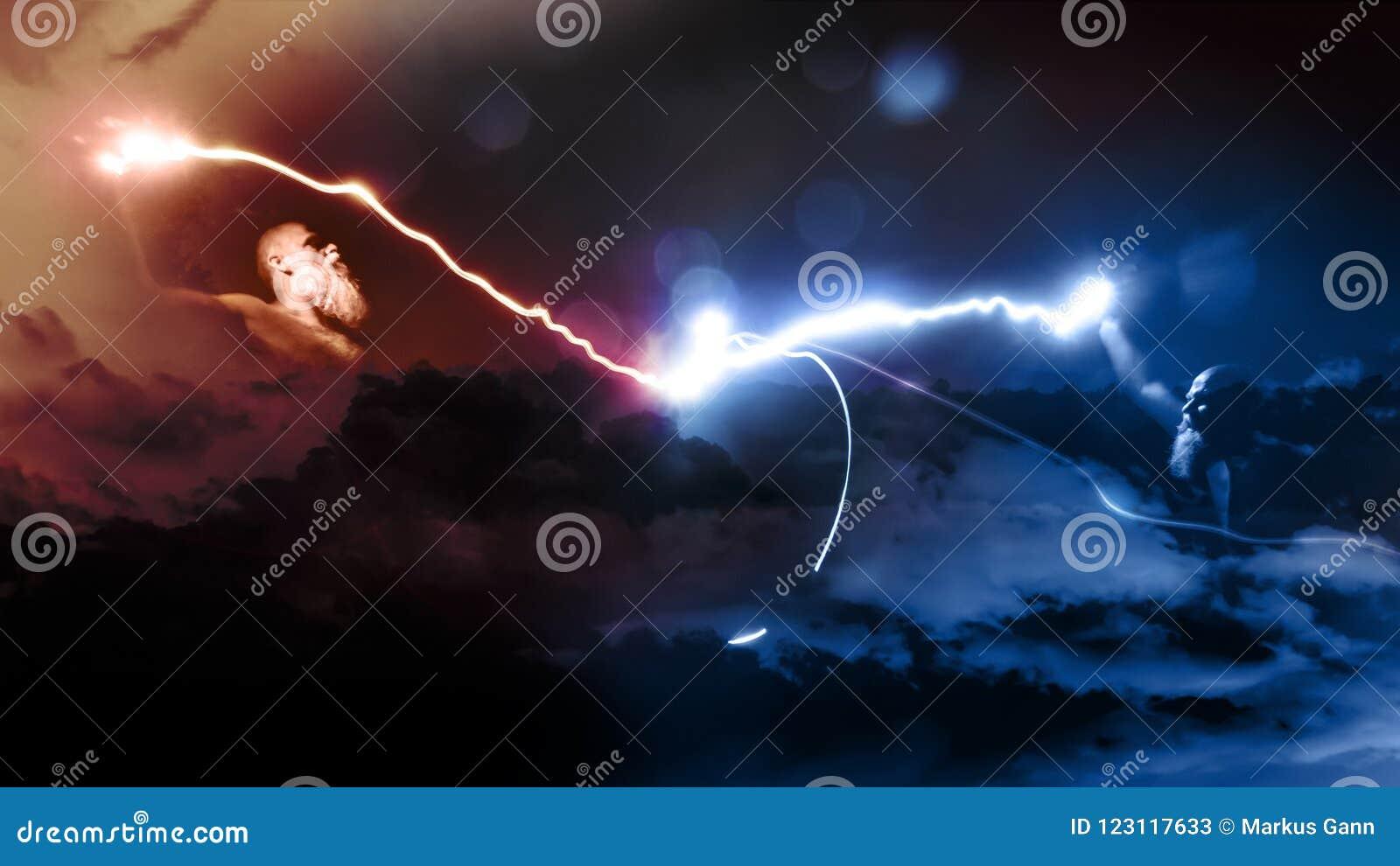 与闪电的两个神战斗