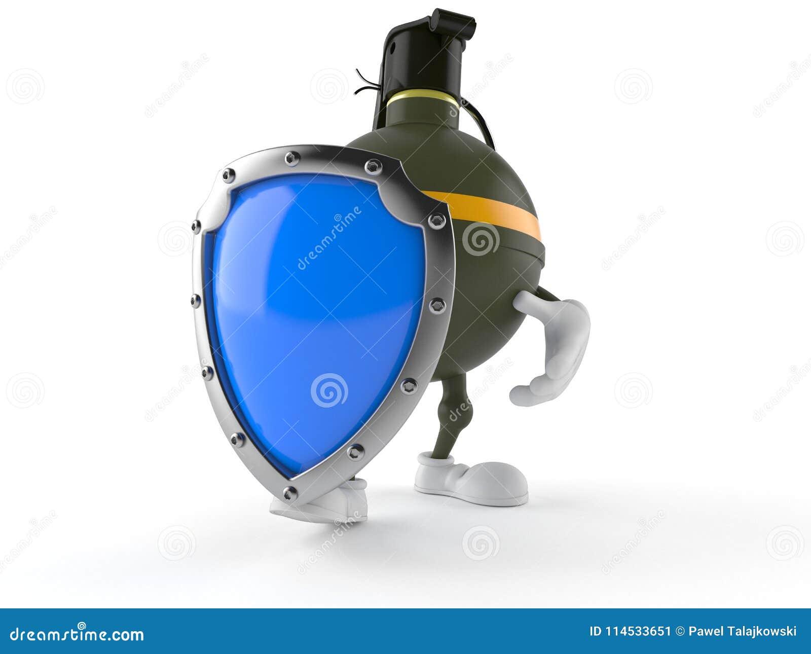 与防护盾的手榴弹字符