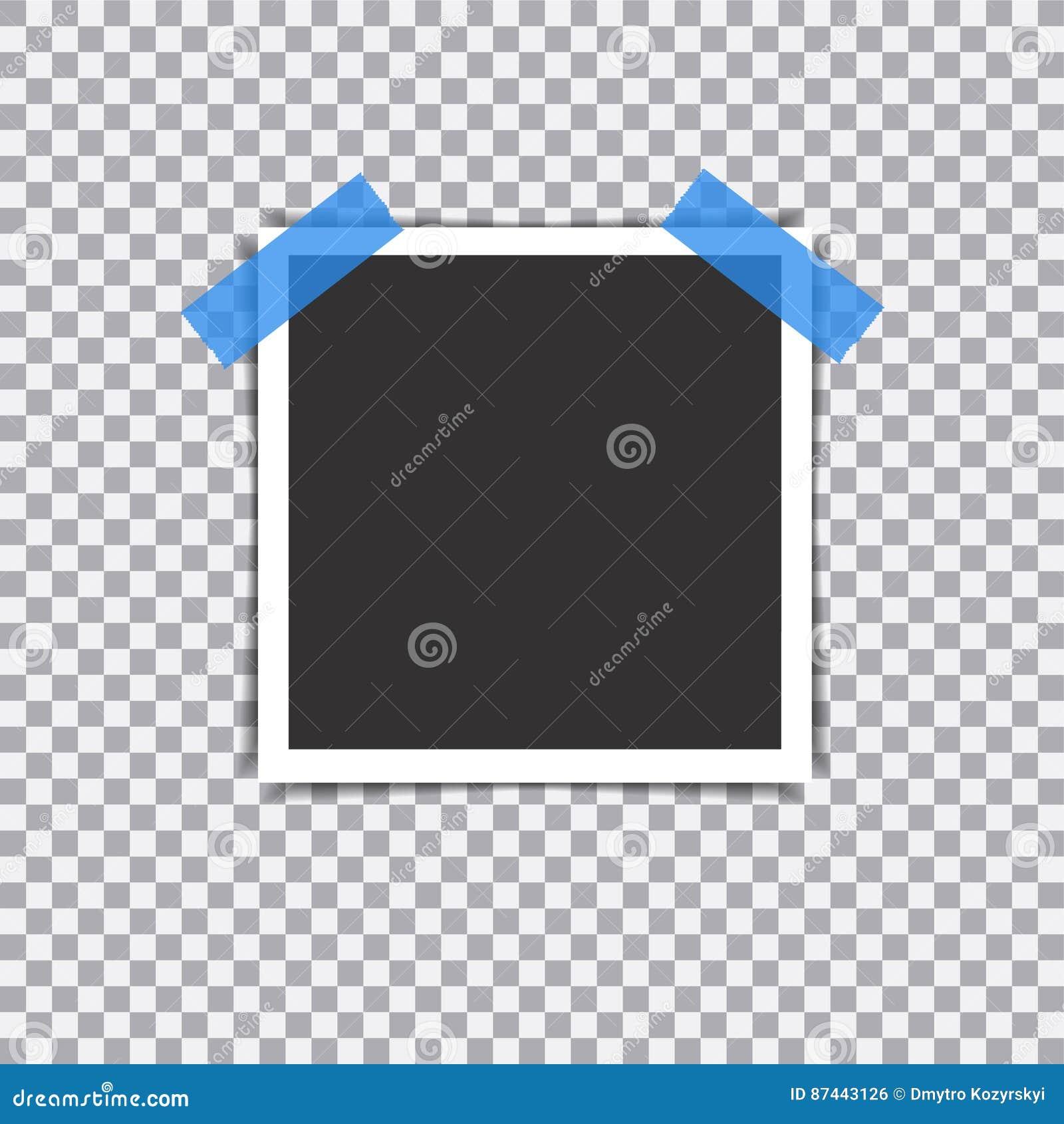 与阴影的减速火箭的照片框架在透明背景的稠粘的磁带别针