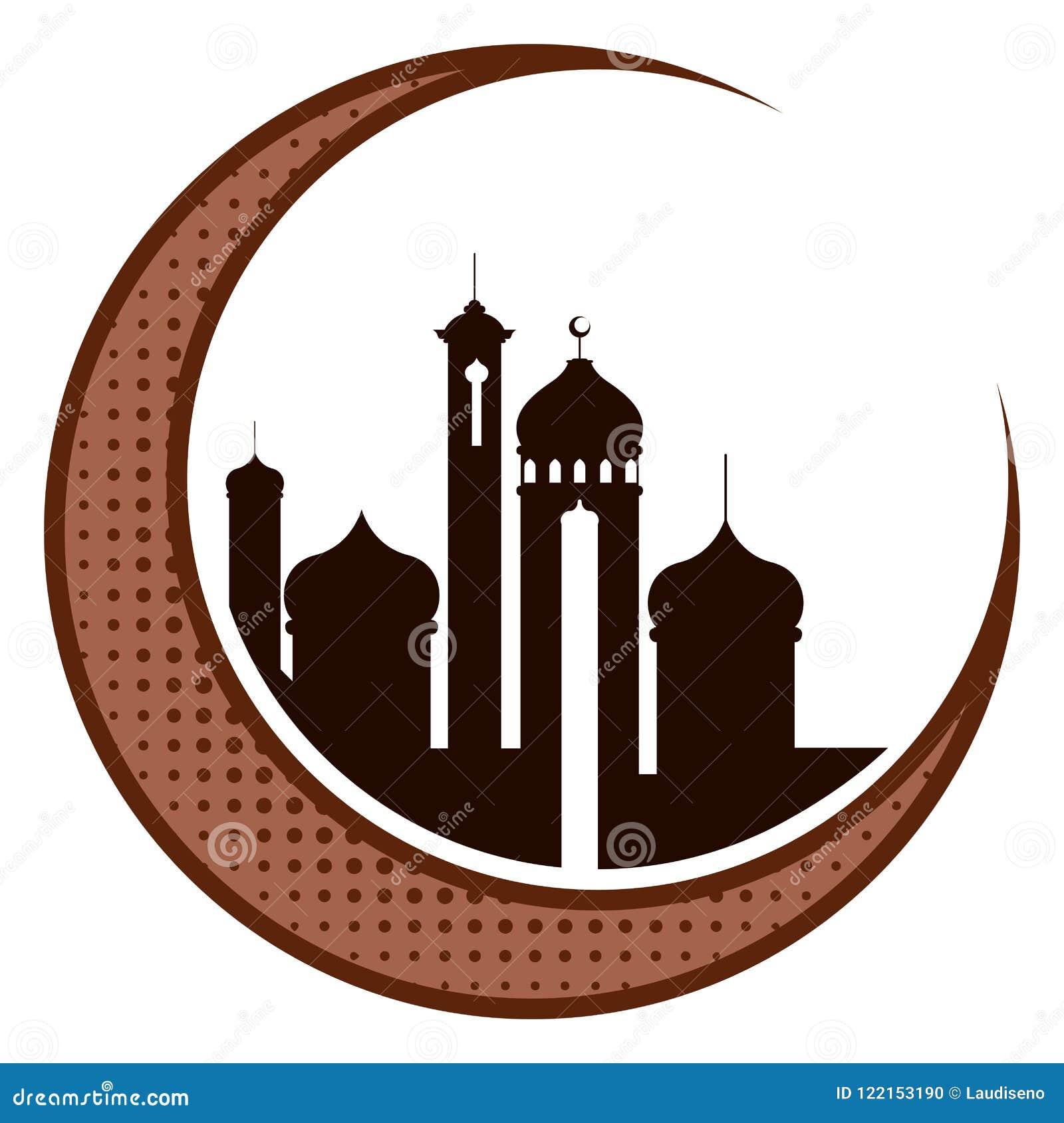 与阿拉伯寺庙的月亮 ramadan的kareem