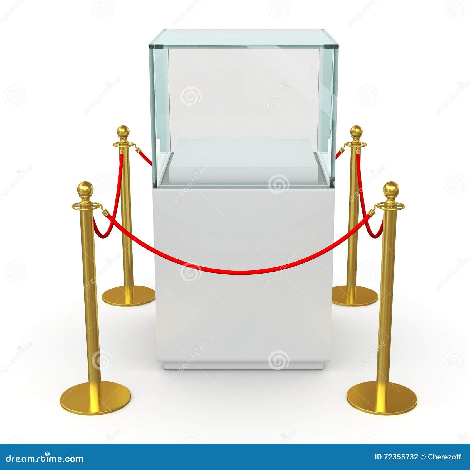 与障碍绳索的空的玻璃立方体