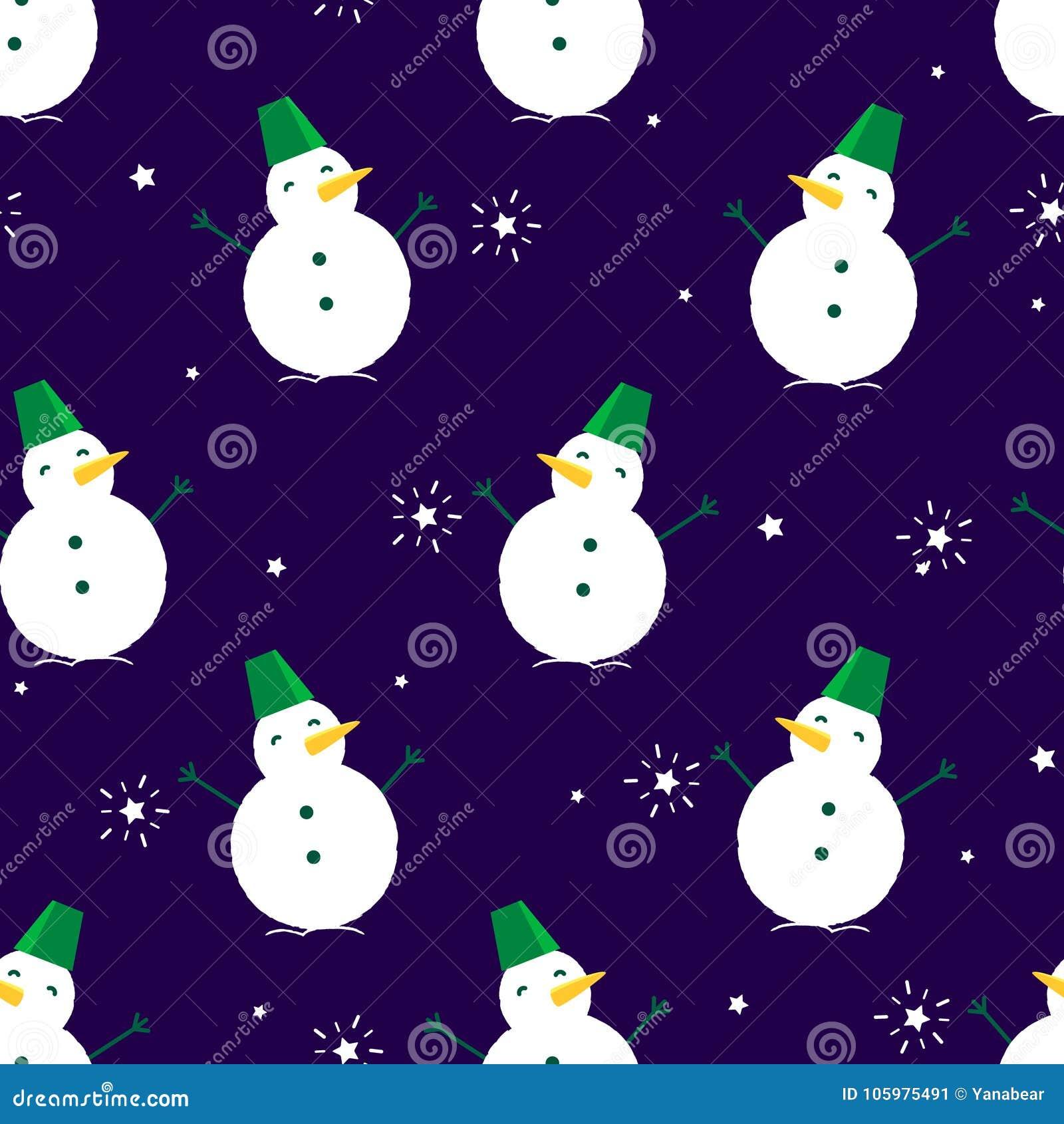与雪人和星的无缝的样式在黑暗的背景 纺织品和包裹的装饰品