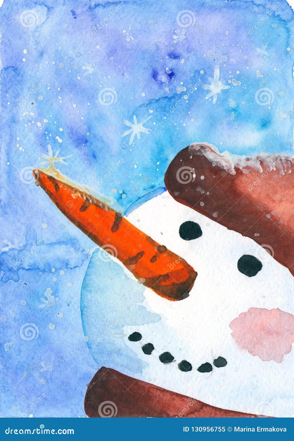 与雪人的水彩卡片 卡片的,邀请,贺卡冬天风景