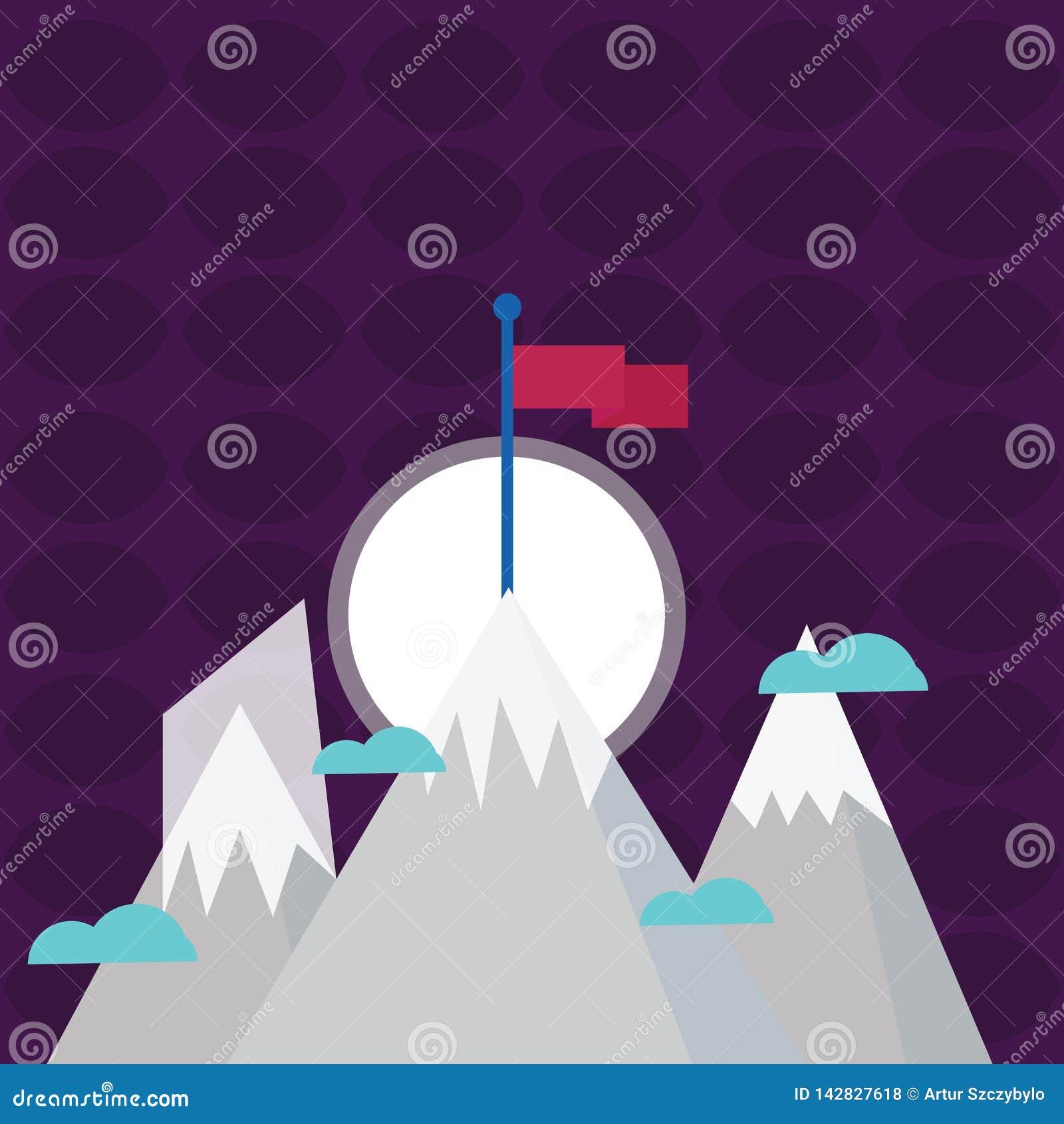 与雪的三座山超出小云彩范围 一有站立在峰顶的空白的五颜六色的旗子 创造性