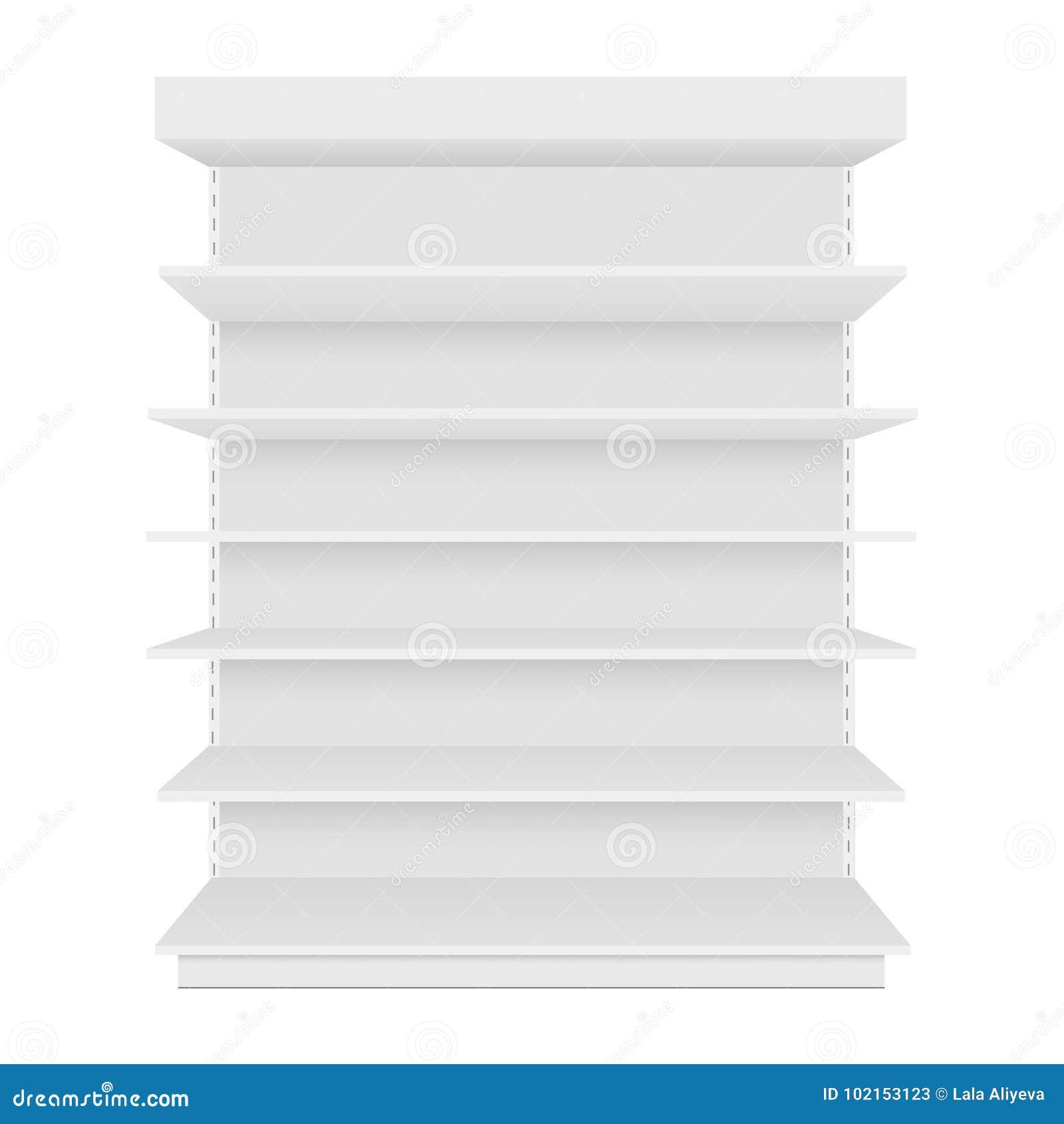 与零售架子的空白的空的陈列室显示 正面图 导航假装模板准备好您的设计