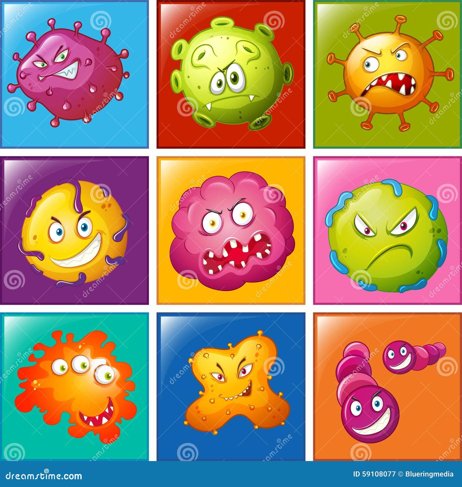与面孔的细菌在徽章