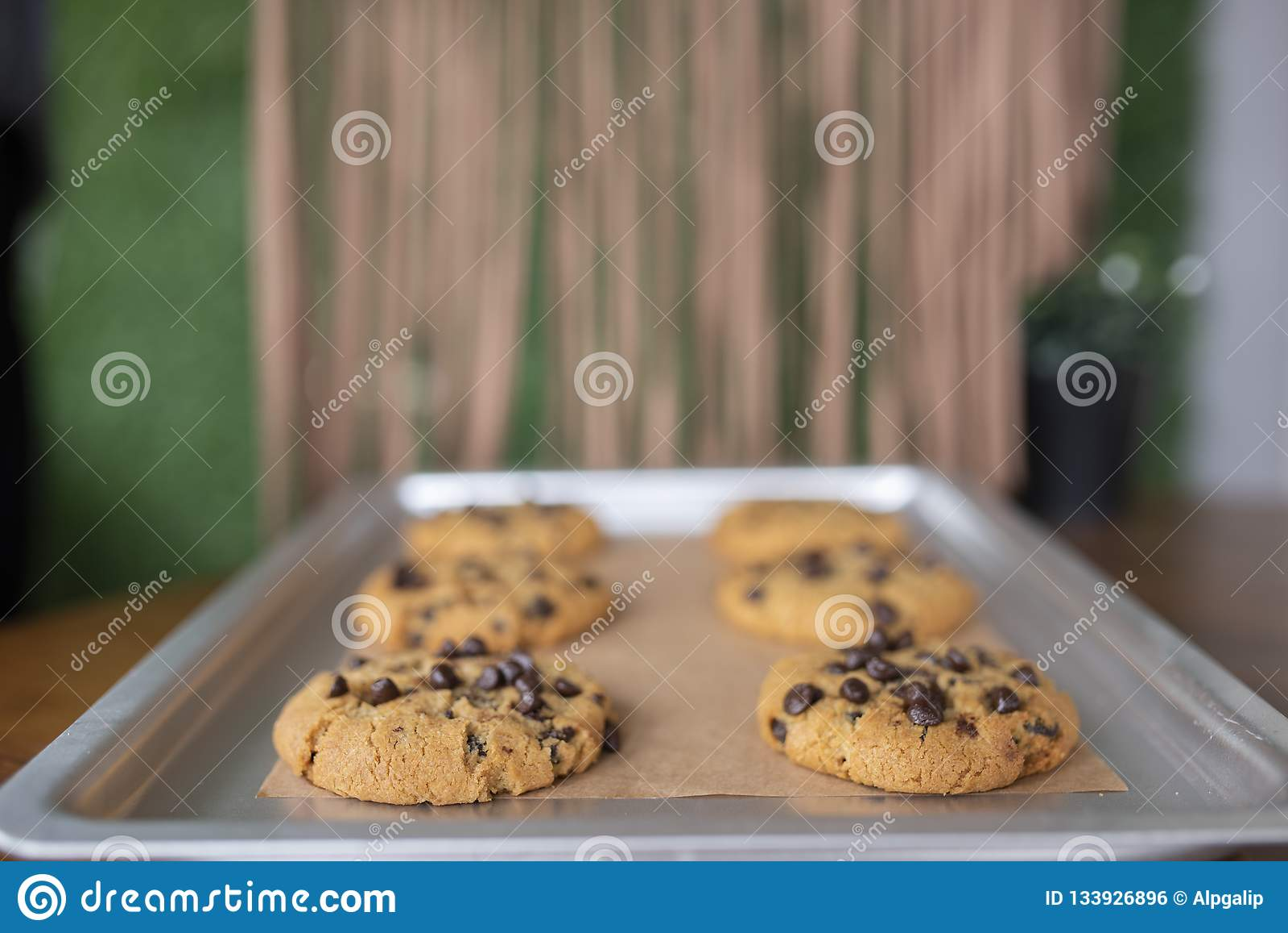 与面筋自由成份的面筋免费曲奇饼在服务盘子