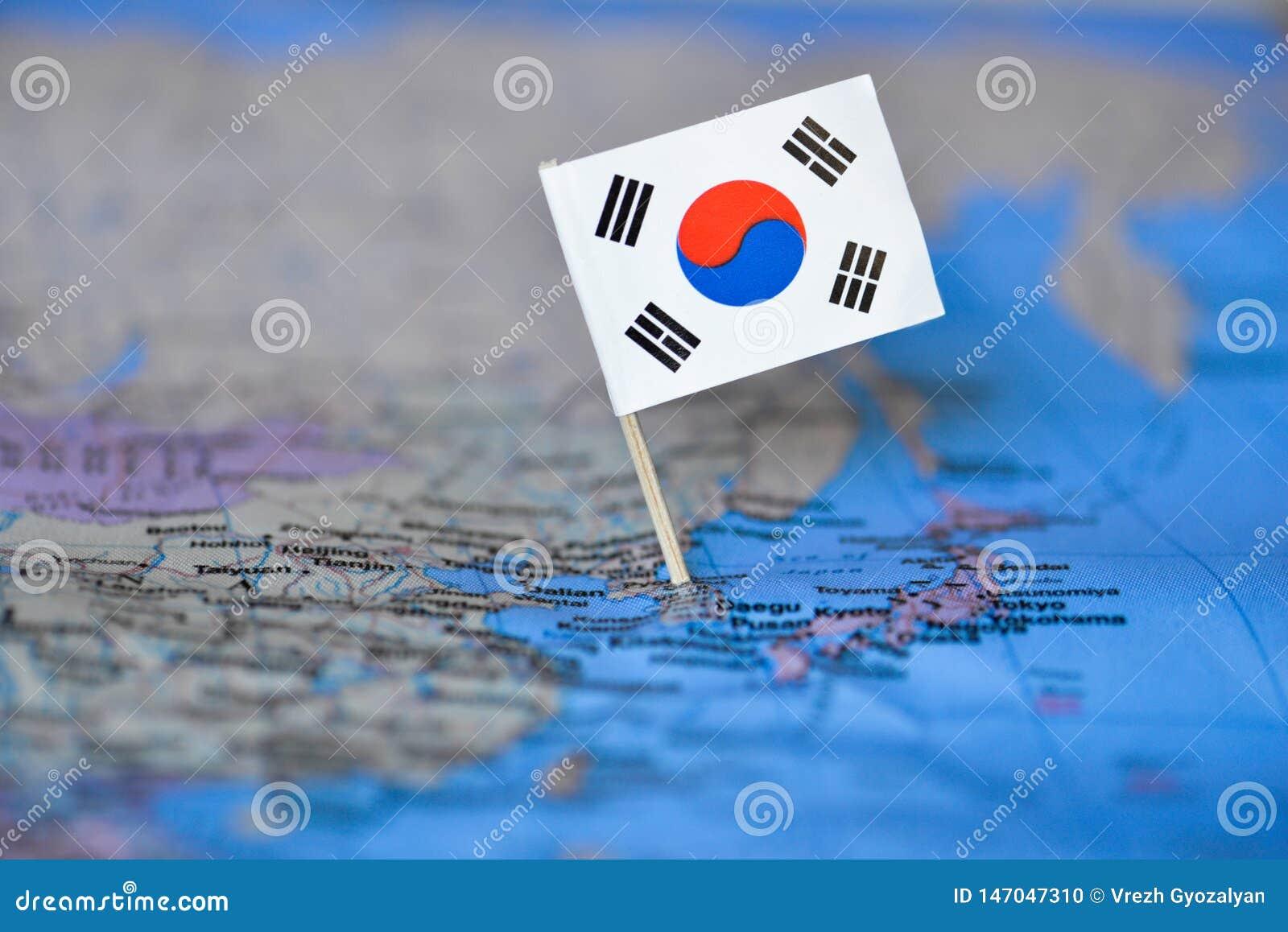 与韩国的旗子的地图
