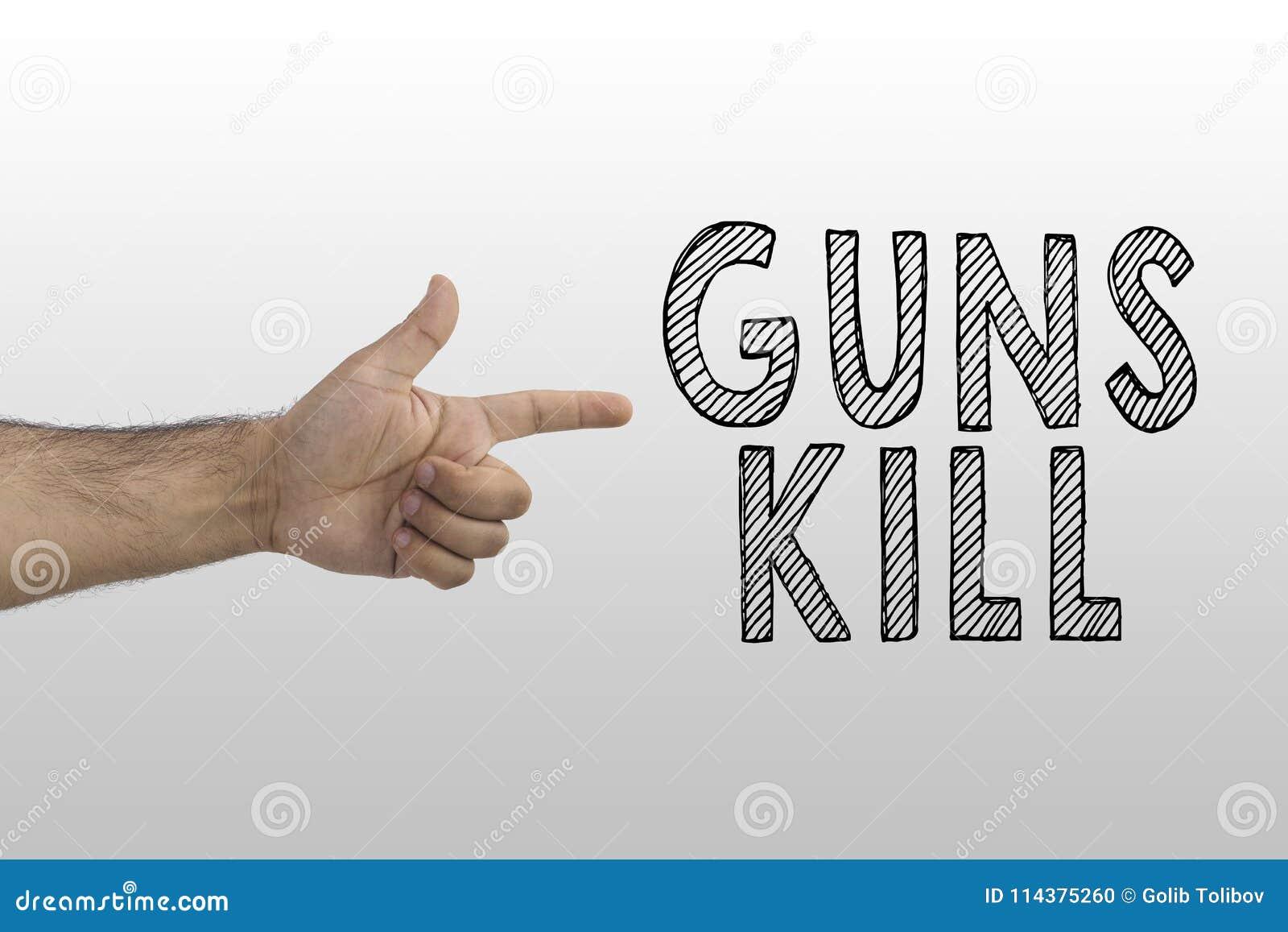与题字的手枪姿态在梯度背景:枪杀害 枪枝管制标志概念