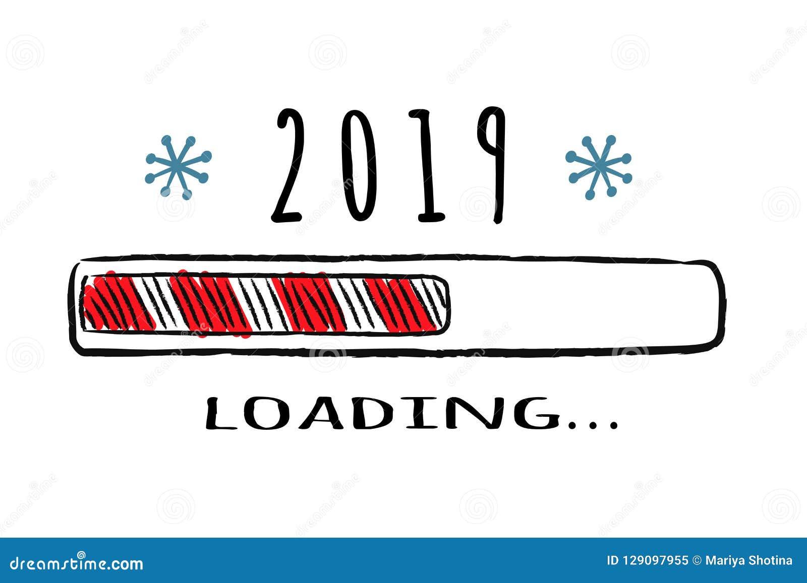 与题字的进展酒吧-装载在概略样式的2019年 传染媒介圣诞节,新年例证