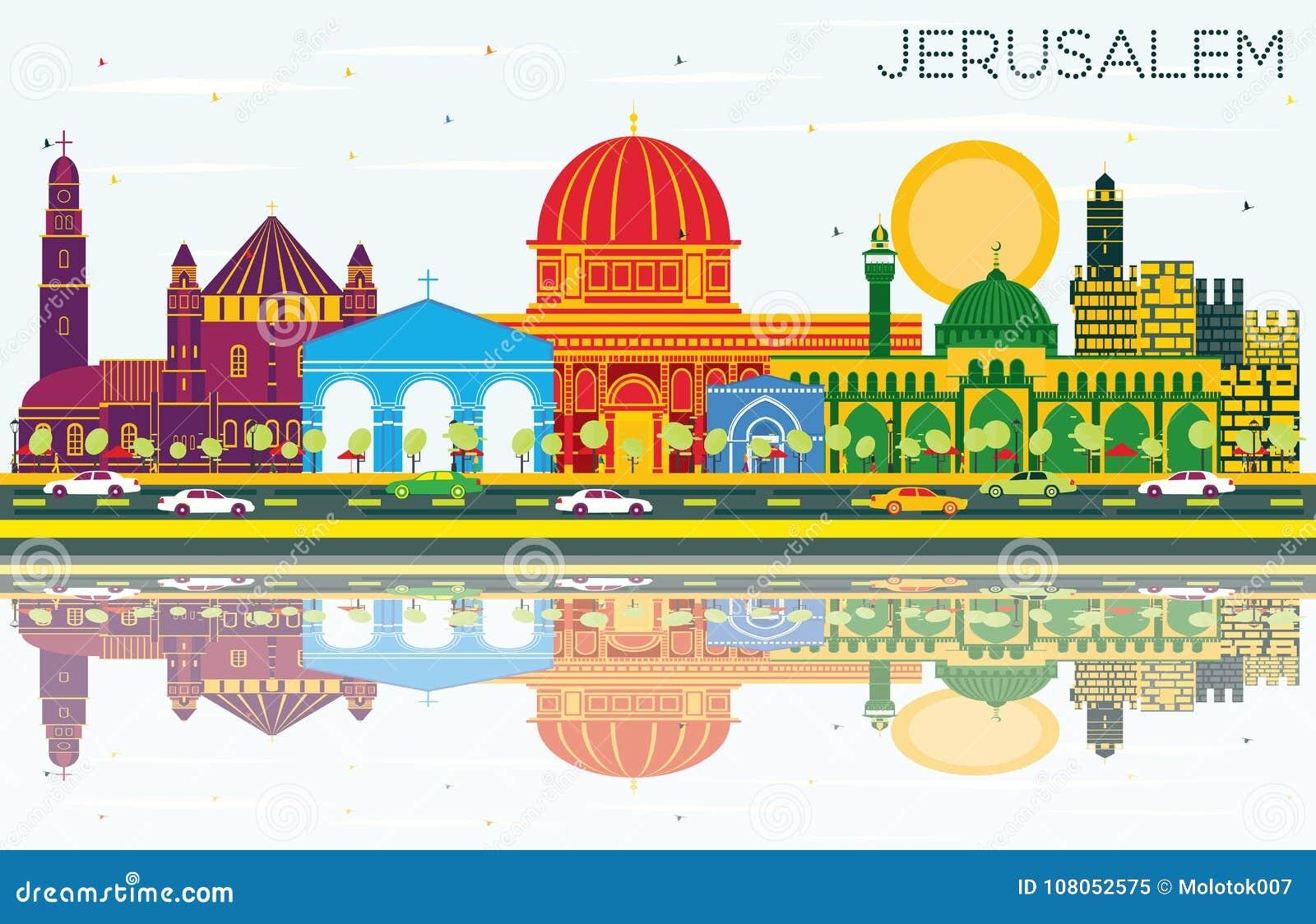 与颜色大厦、蓝天和Refl的耶路撒冷以色列地平线