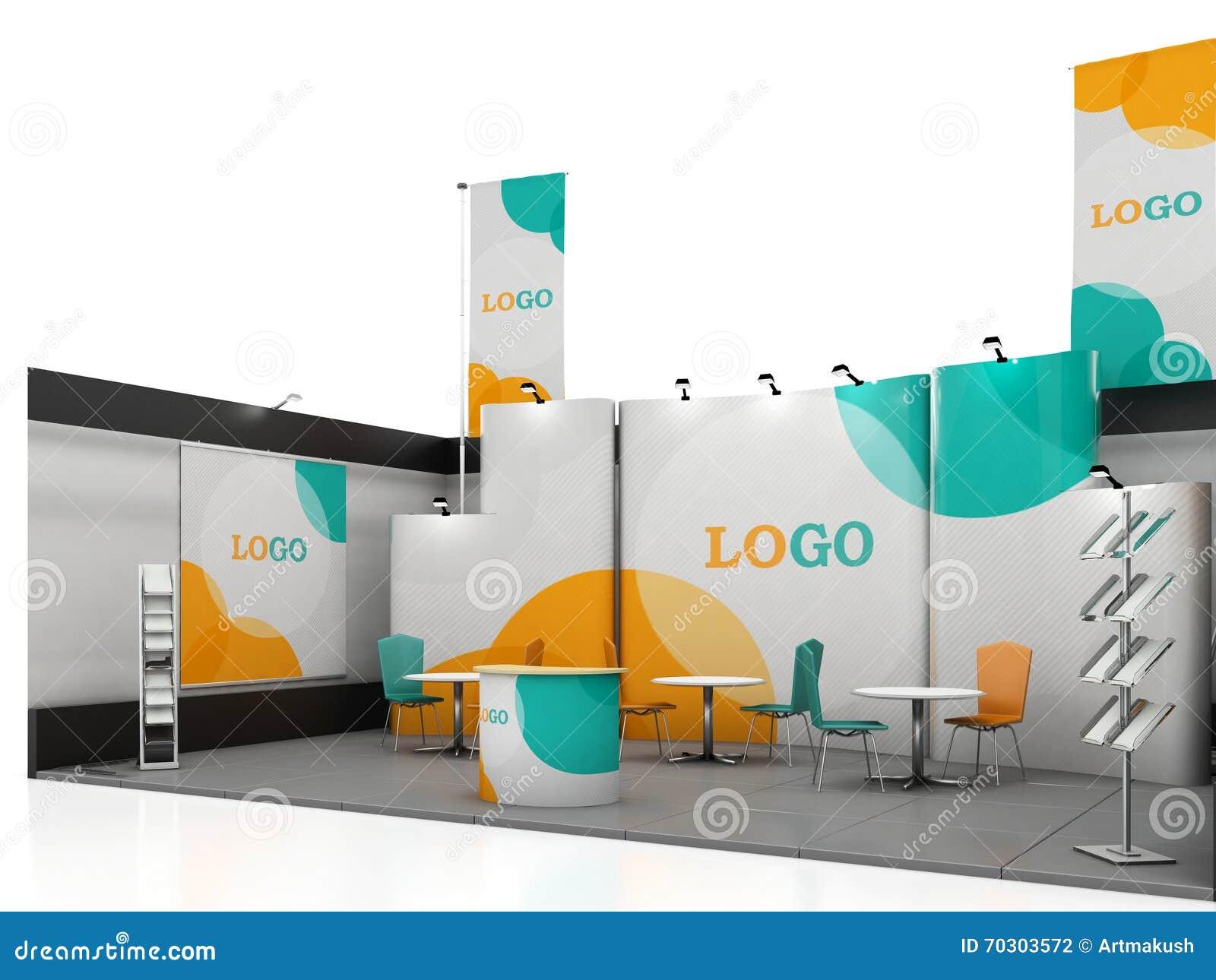 Small Exhibition Stand Mockup : 与颜色的空白的创造性的陈列立场设计塑造 摊模板 库存例证 插画 包括有 公司 brandywine 会议室