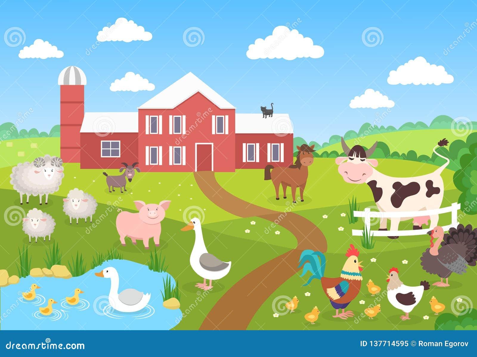 与风景的牲口 马猪鸭子鸡绵羊 儿童图书的动画片村庄 农厂背景场面