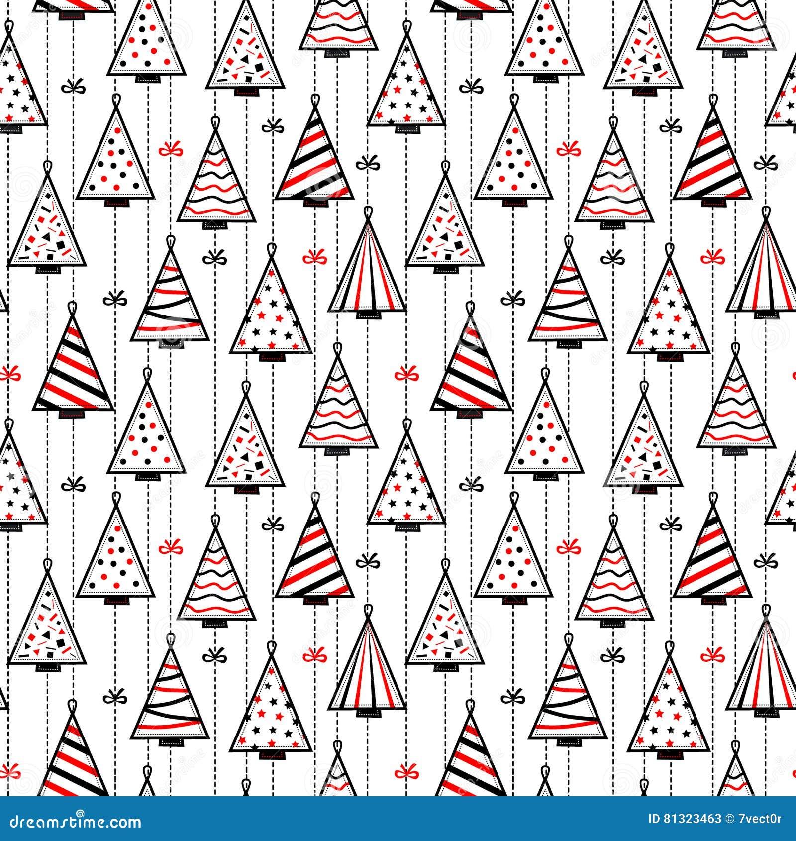 与风格化圣诞树的无缝的样式纹理背景