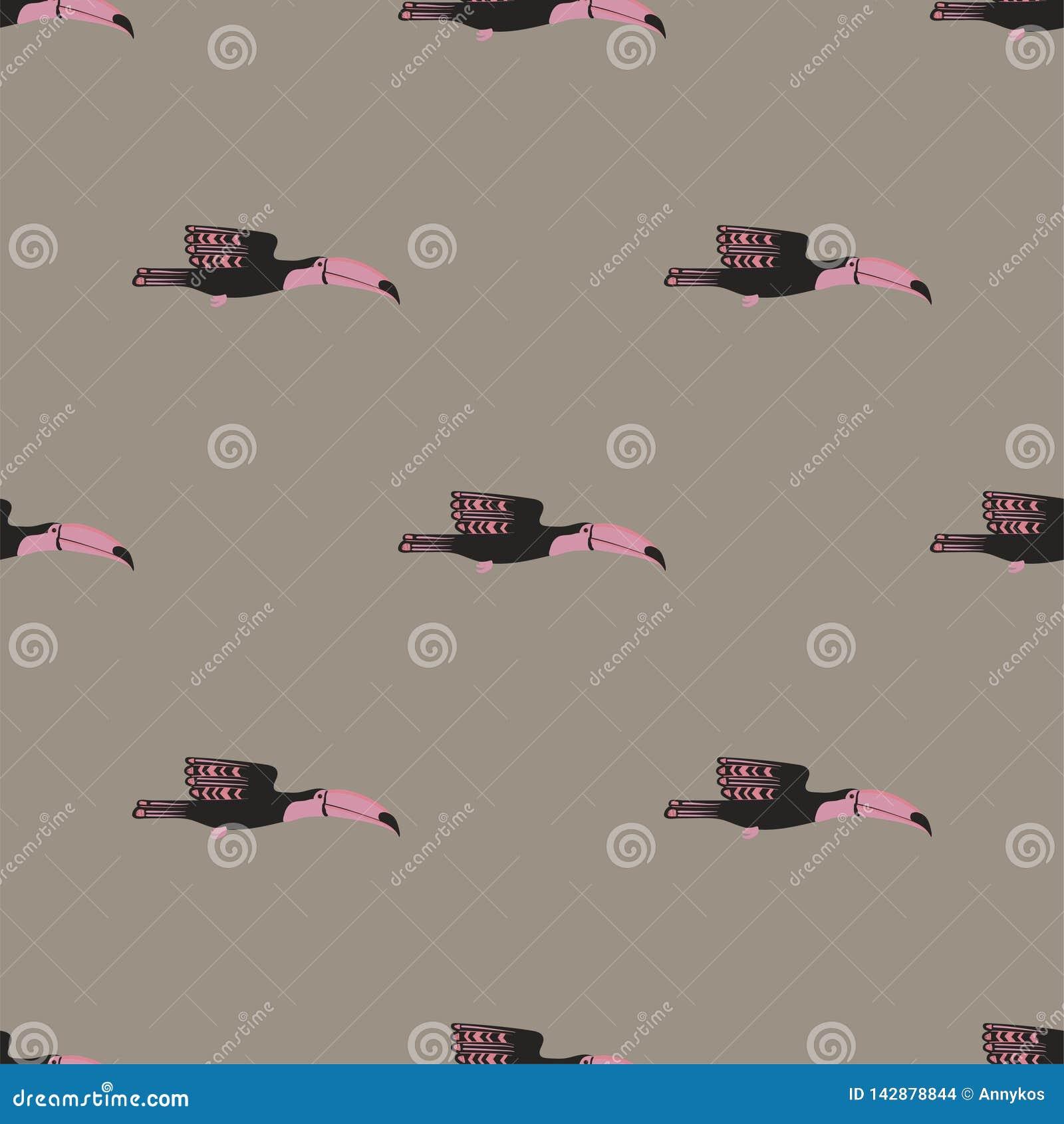 与飞行Toucan的无缝的样式