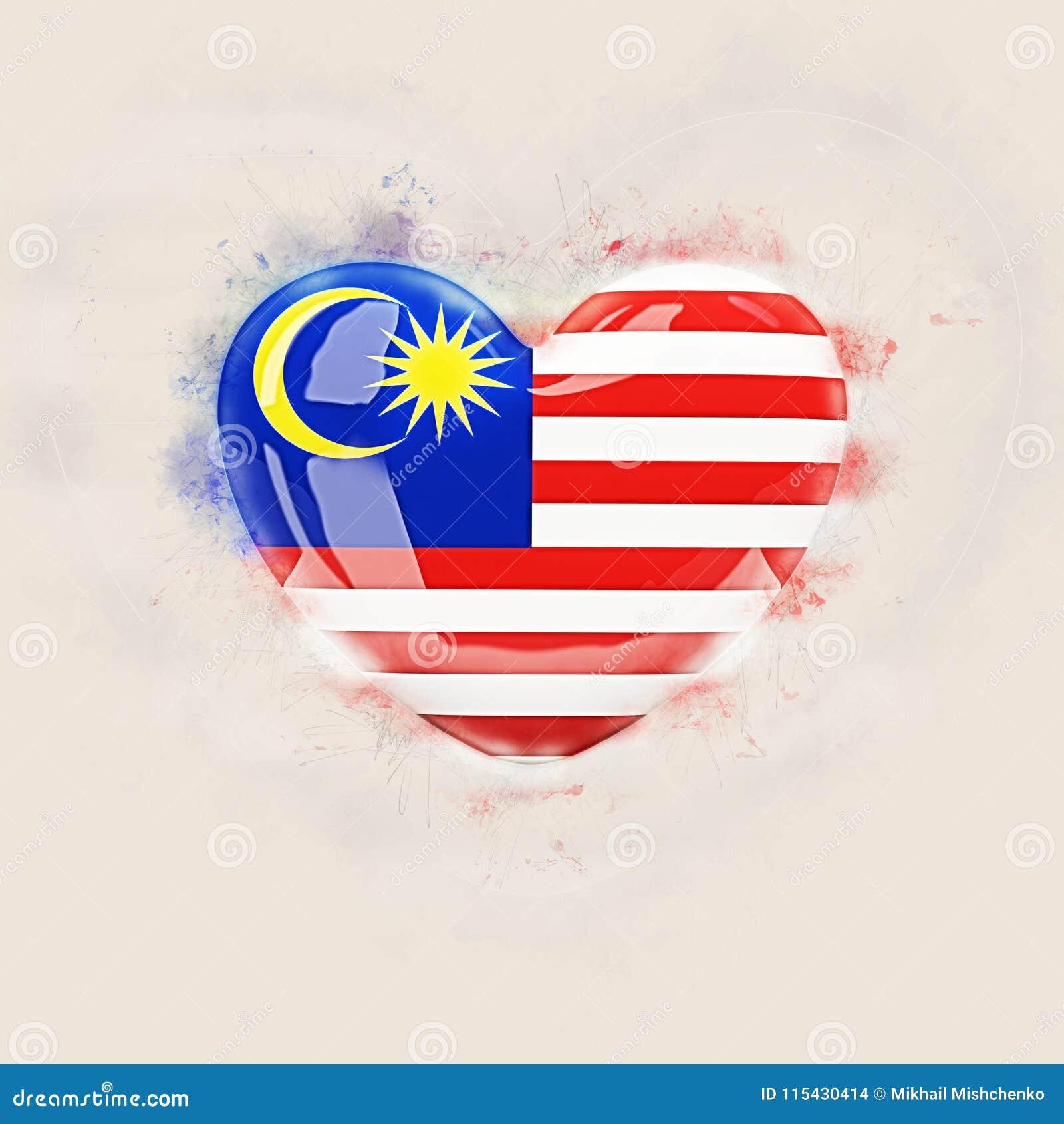 与马来西亚的旗子的心脏
