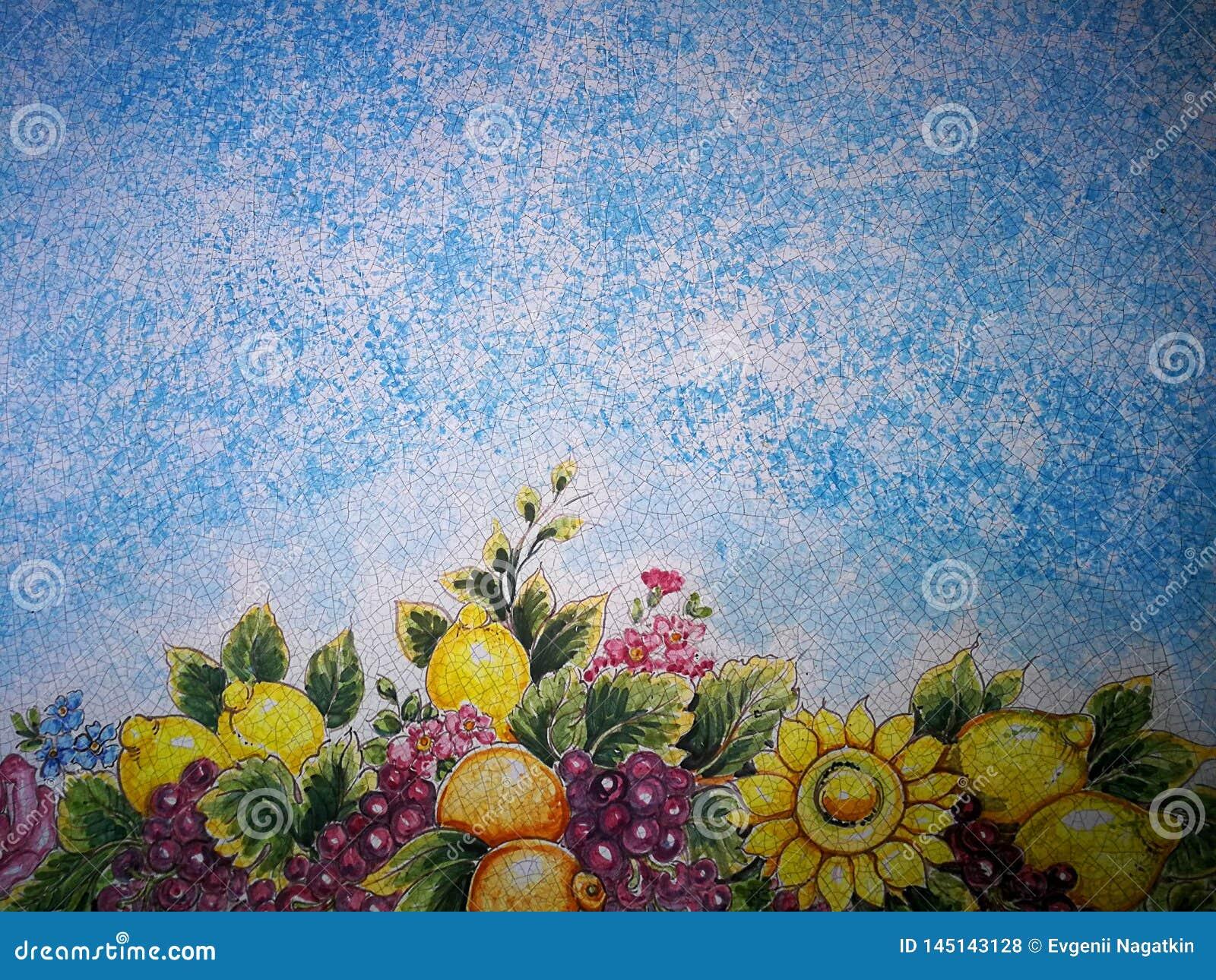 与马赛克开花的和果子样式的蓝色背景