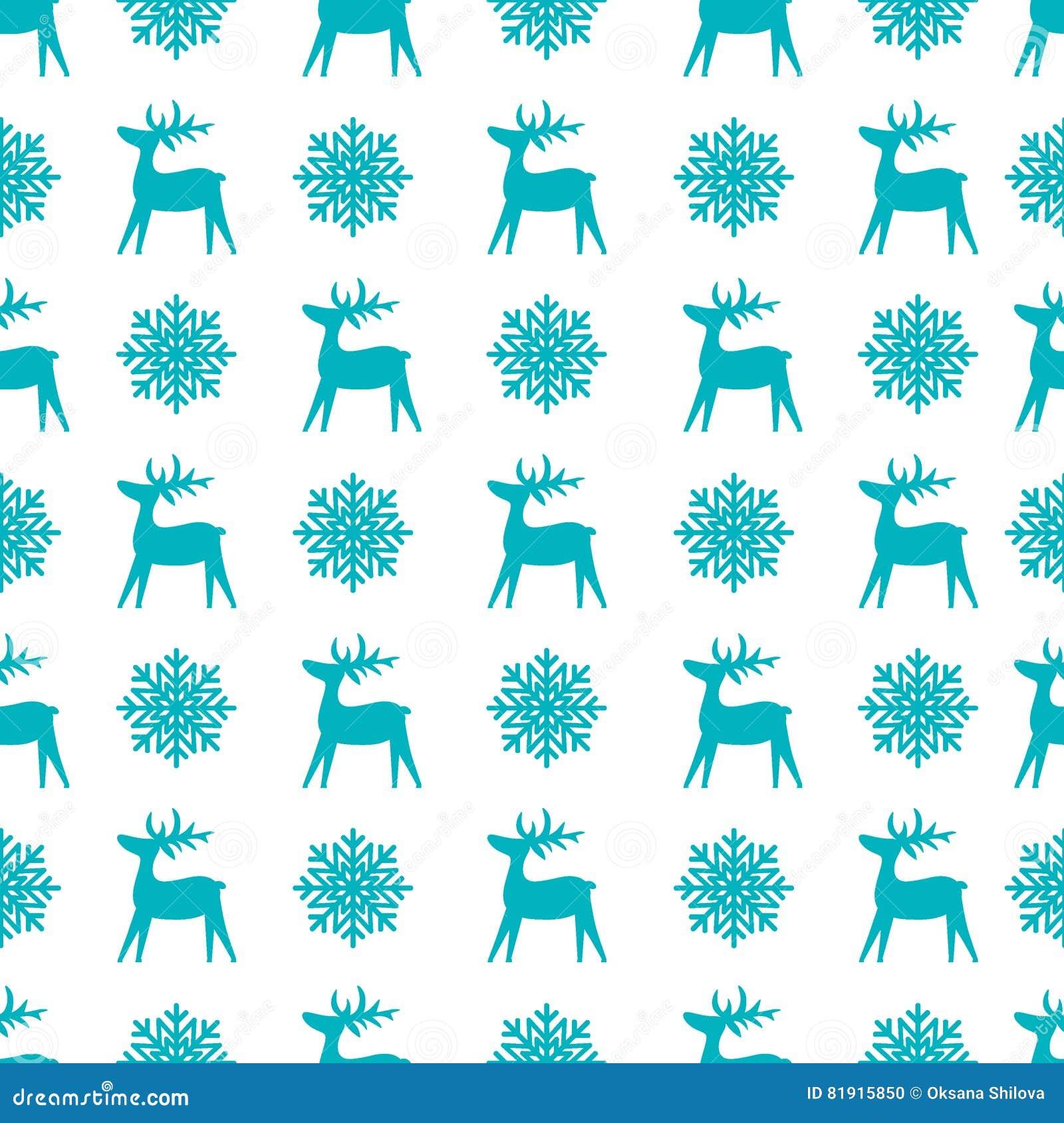 与驯鹿和雪花的圣诞节无缝的纹理