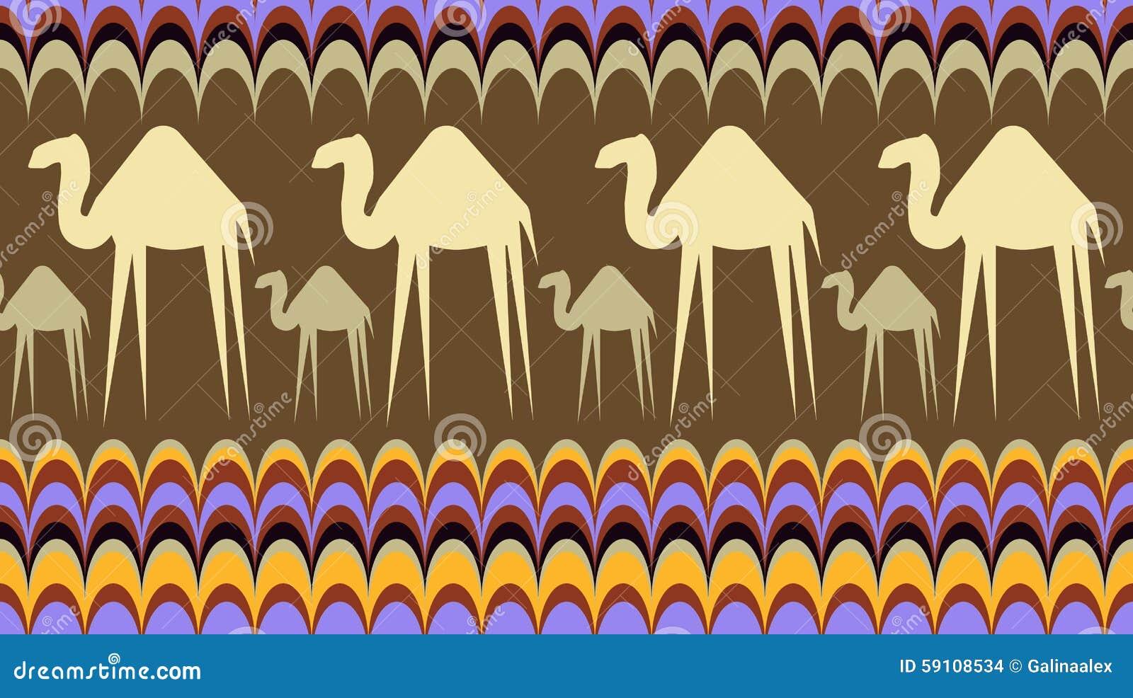 与骆驼的无缝的背景