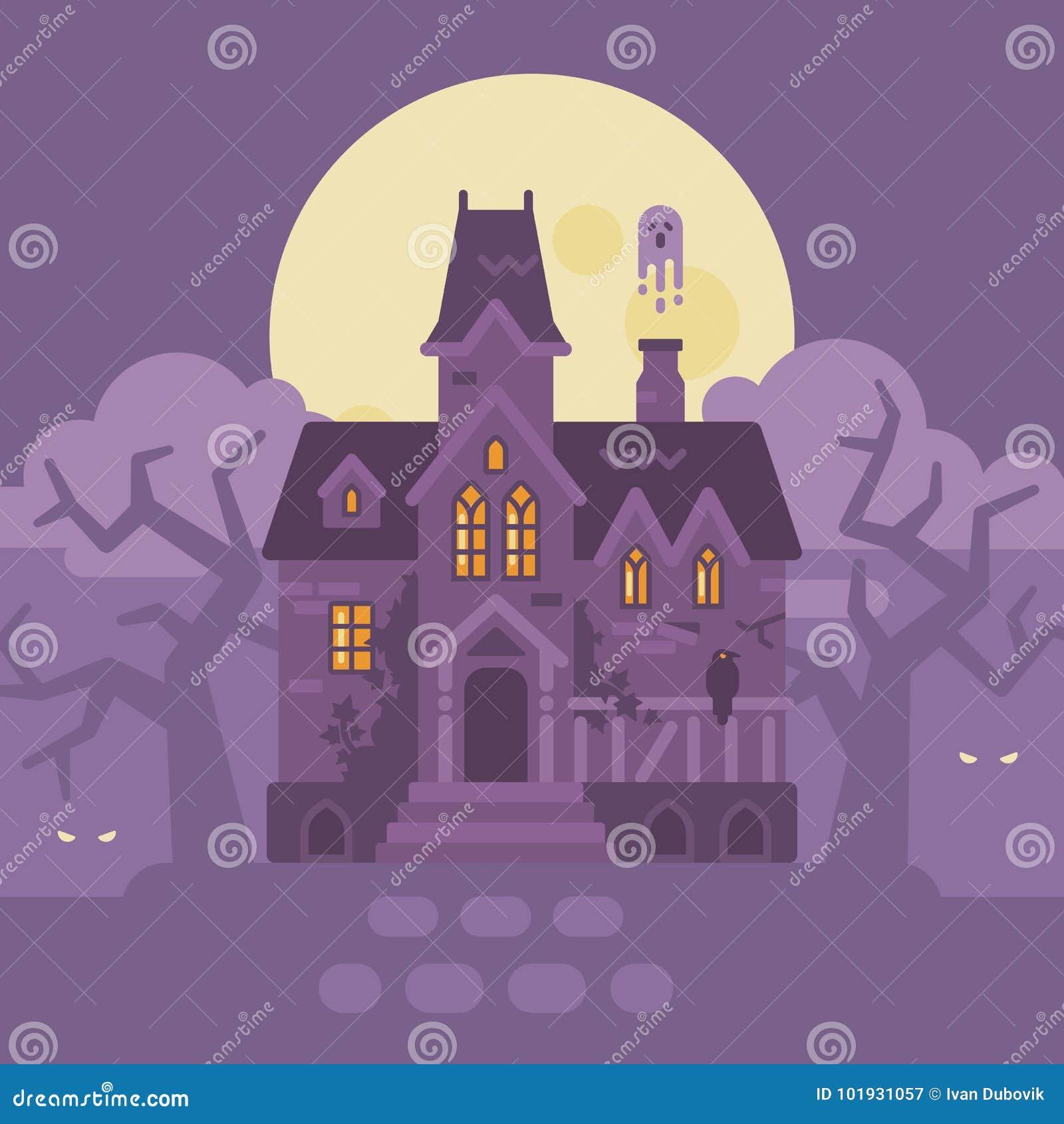与鬼魂的被放弃的哥特式豪宅 万圣节困扰了房子