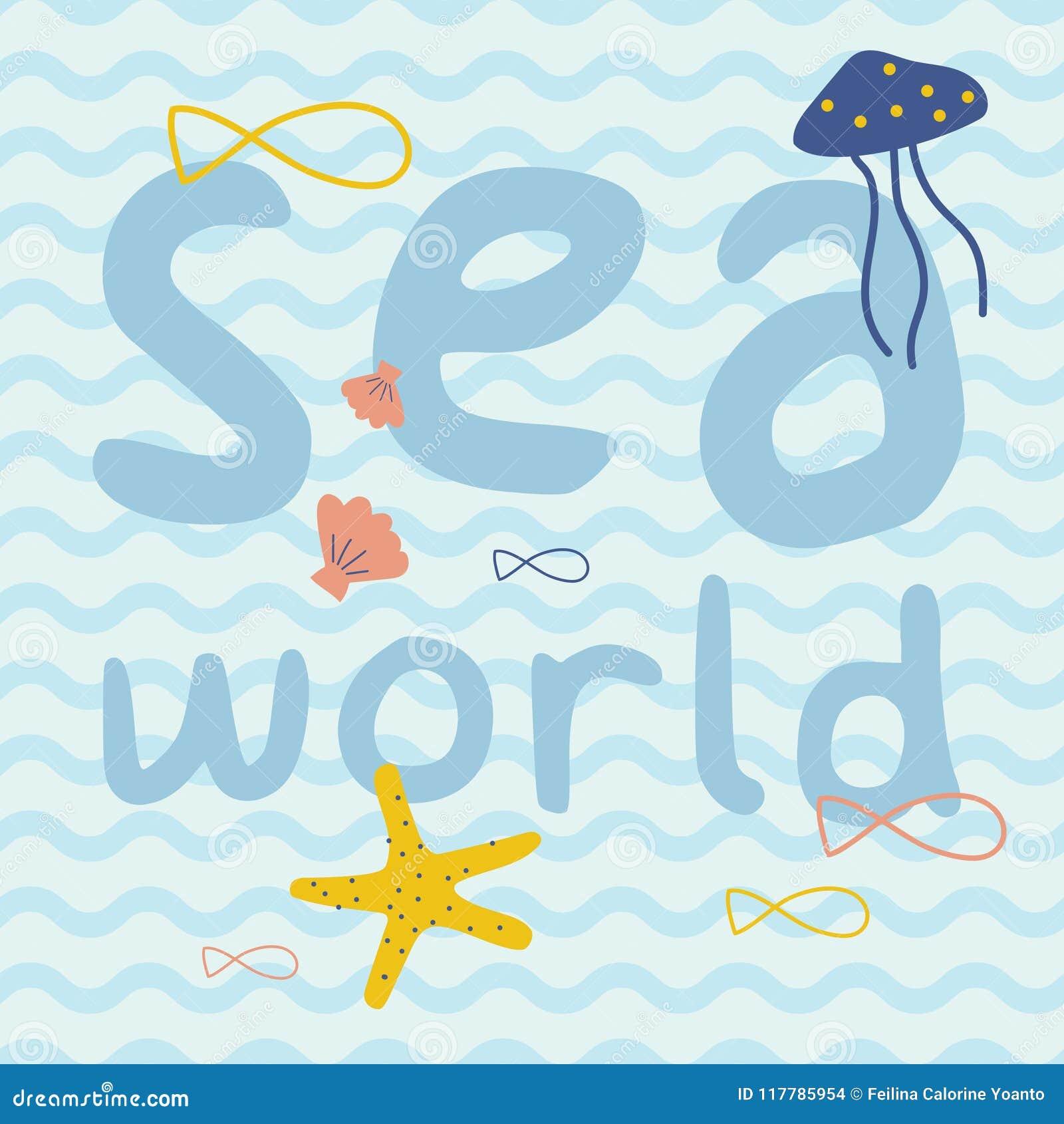 与鱼,海星,水母,壳印刷品海报的海世界