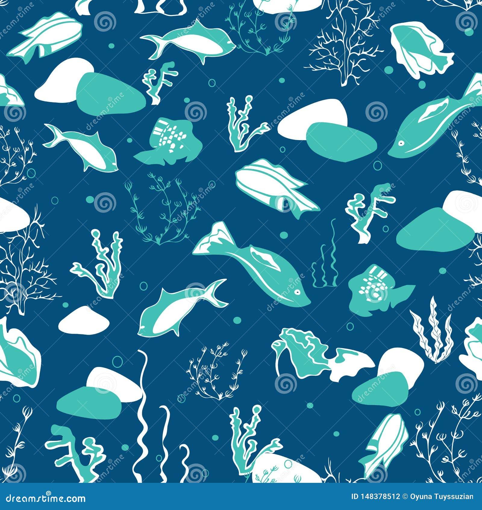 与鲸鱼、海草、珊瑚和鱼的无缝的样式