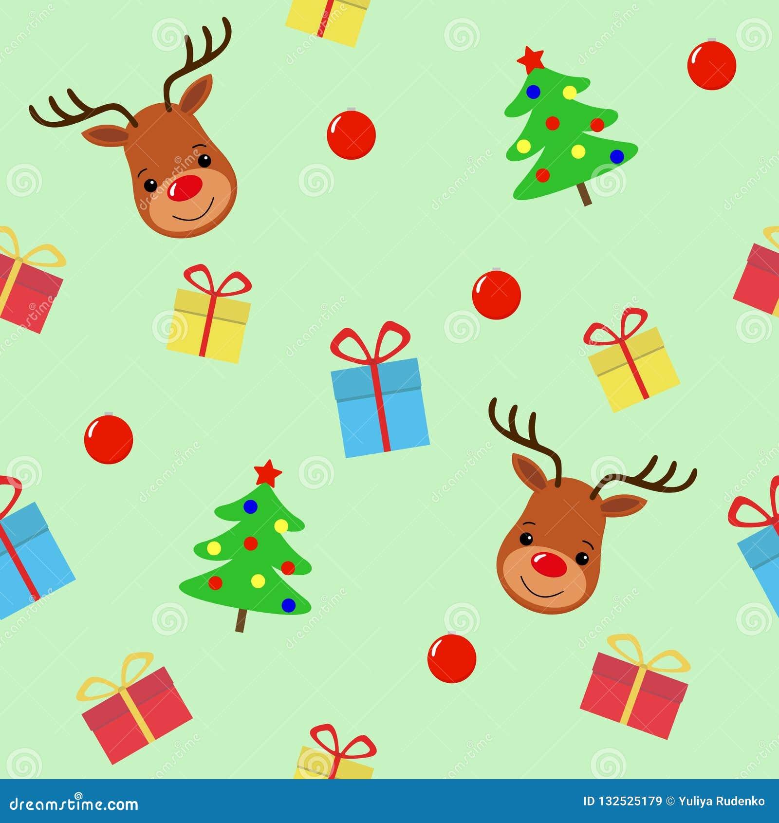 与鹿无缝的样式的圣诞快乐 假日动画片传染媒介 逗人喜爱的野生生物动物字符