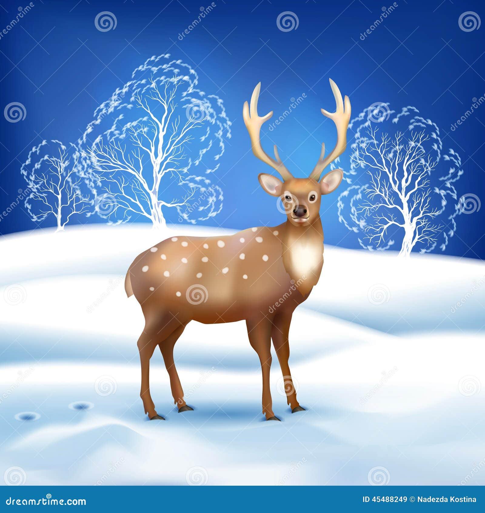 与鹿的冬天风景