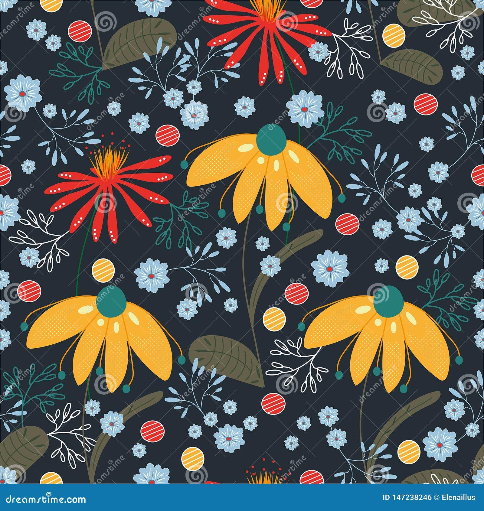 与黄色,红色,蓝色,绿松石花和叶子的传染媒介样式 纹理,背景,墙纸