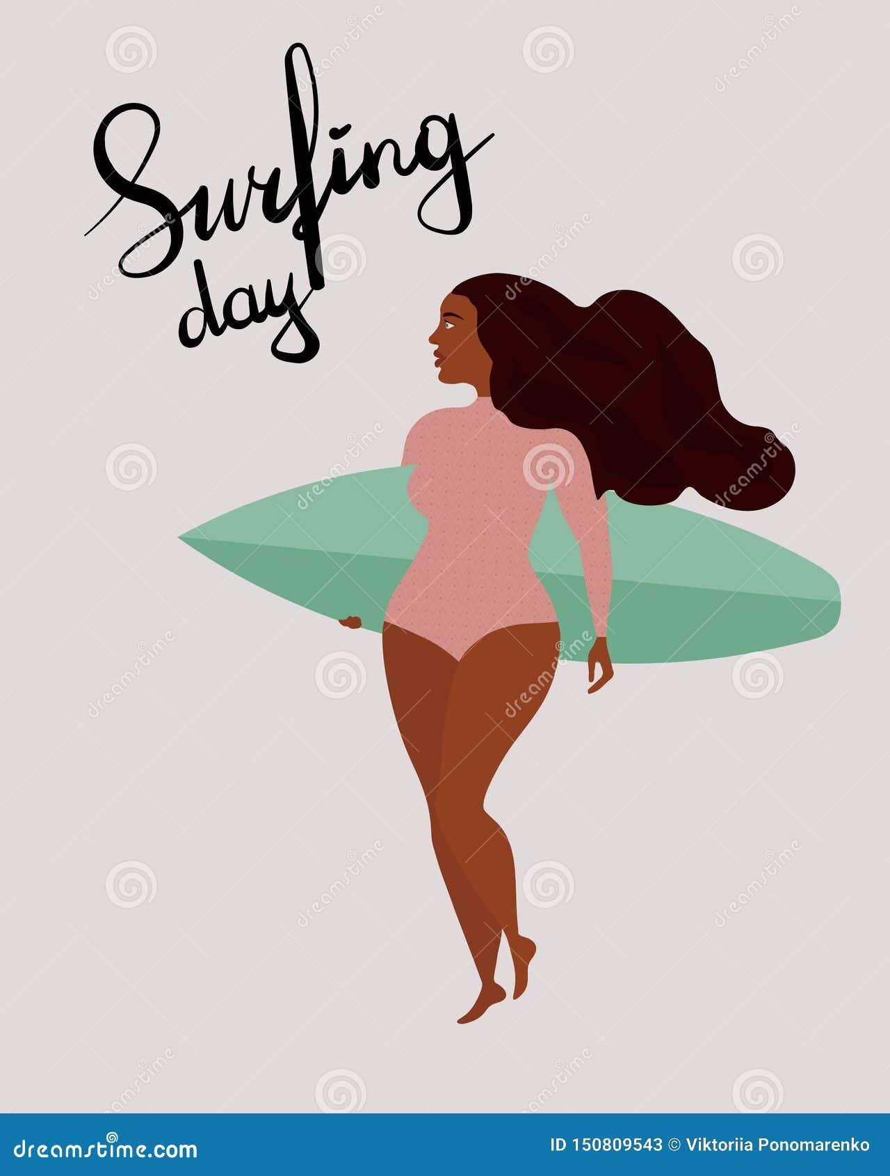 与黑人冲浪者女孩的海报有冲浪板的 在国际冲浪的天上写字