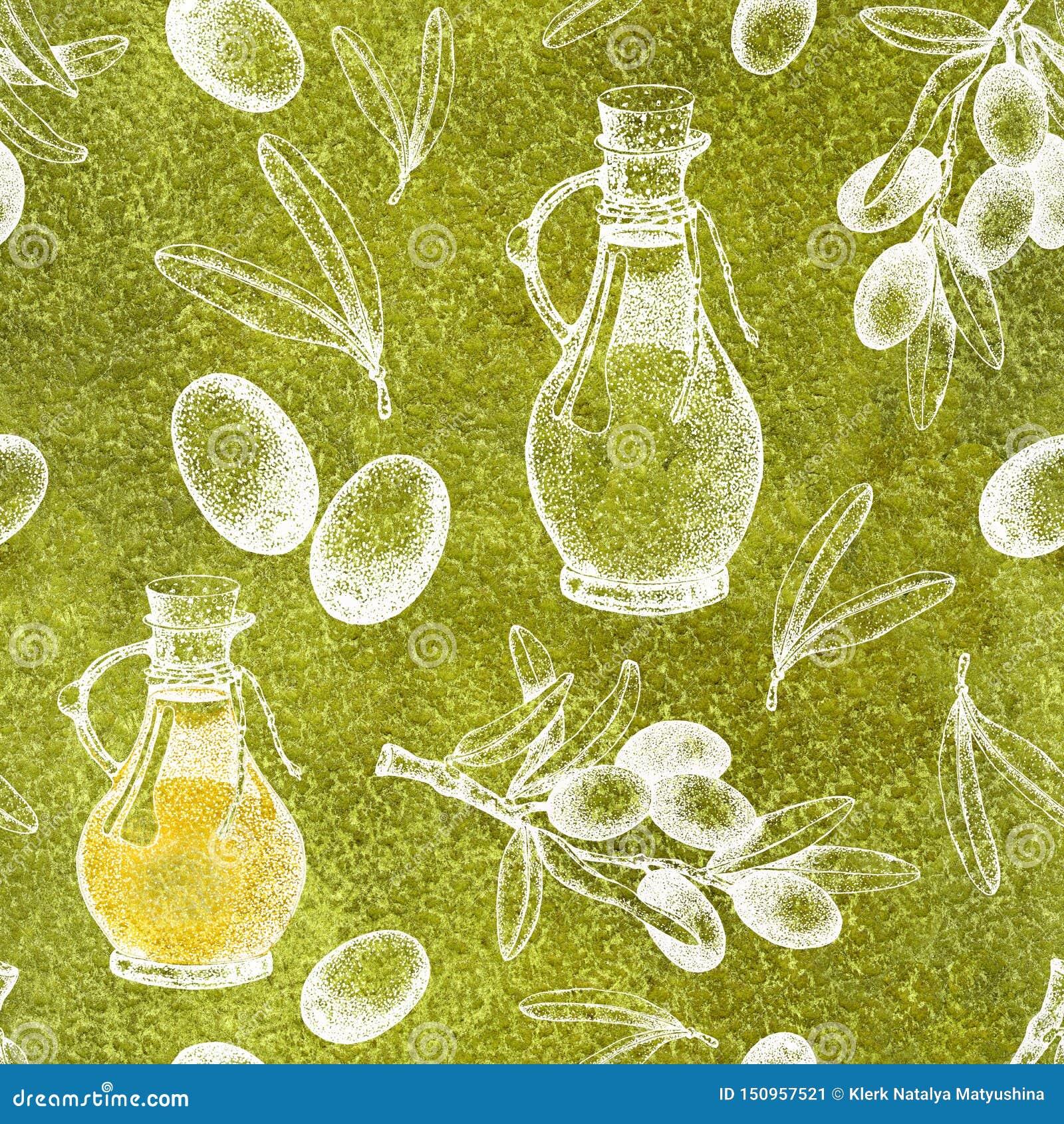 与黑和绿橄榄的例证的无缝的样式在白色背景的与小树枝和叶子 橄榄油的设计
