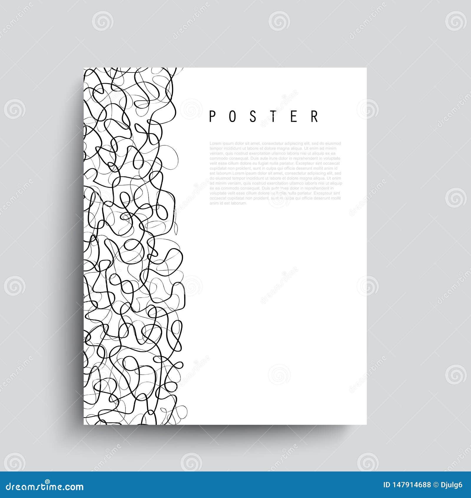 与黑混乱线的抽象传染媒介海报 最低纲领派手拉的招贴-传染媒介
