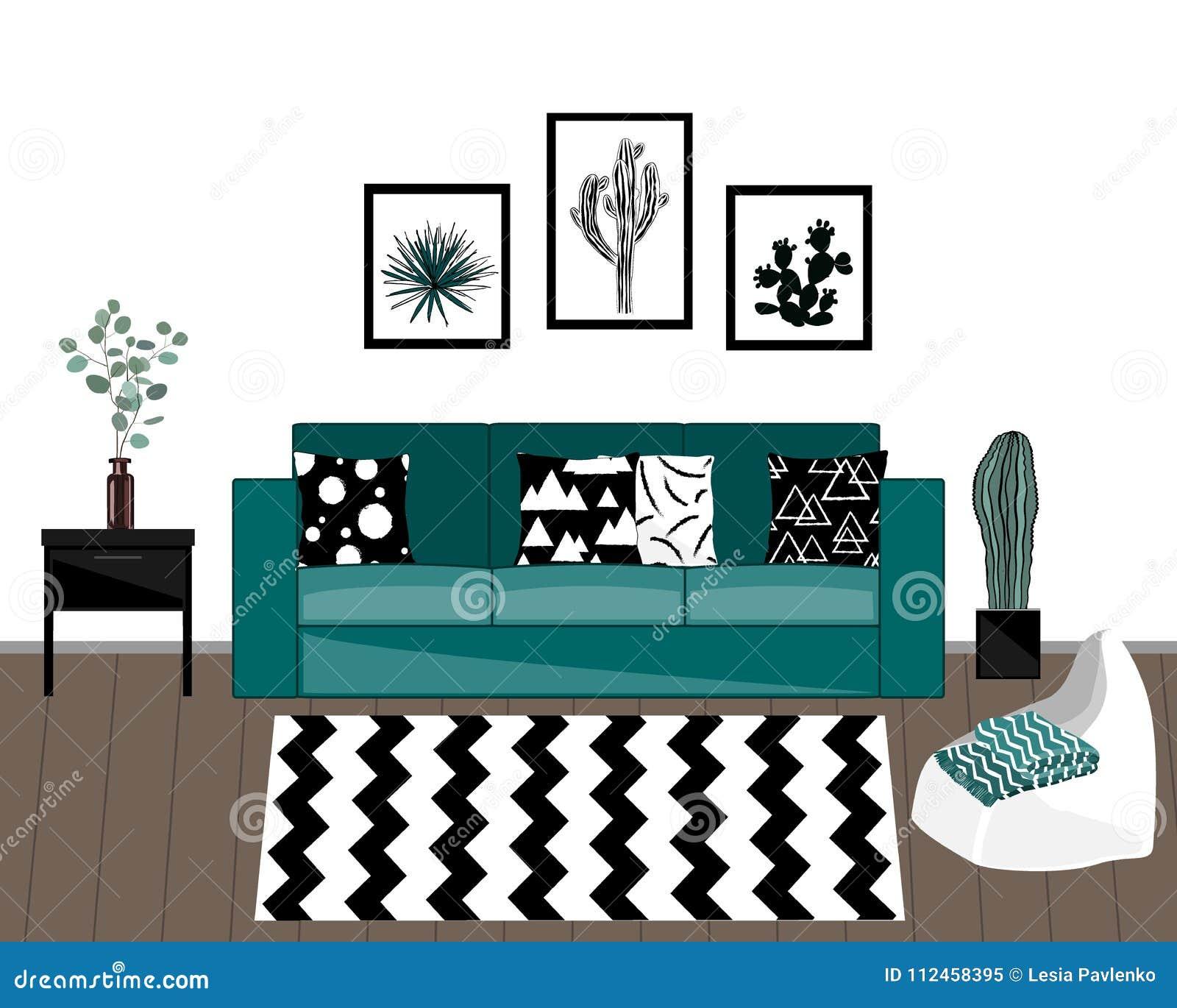 与黑白地毯、蓝色沙发有被装饰的枕头的,家庭植物和白色墙壁的斯堪的纳维亚样式客厅内部