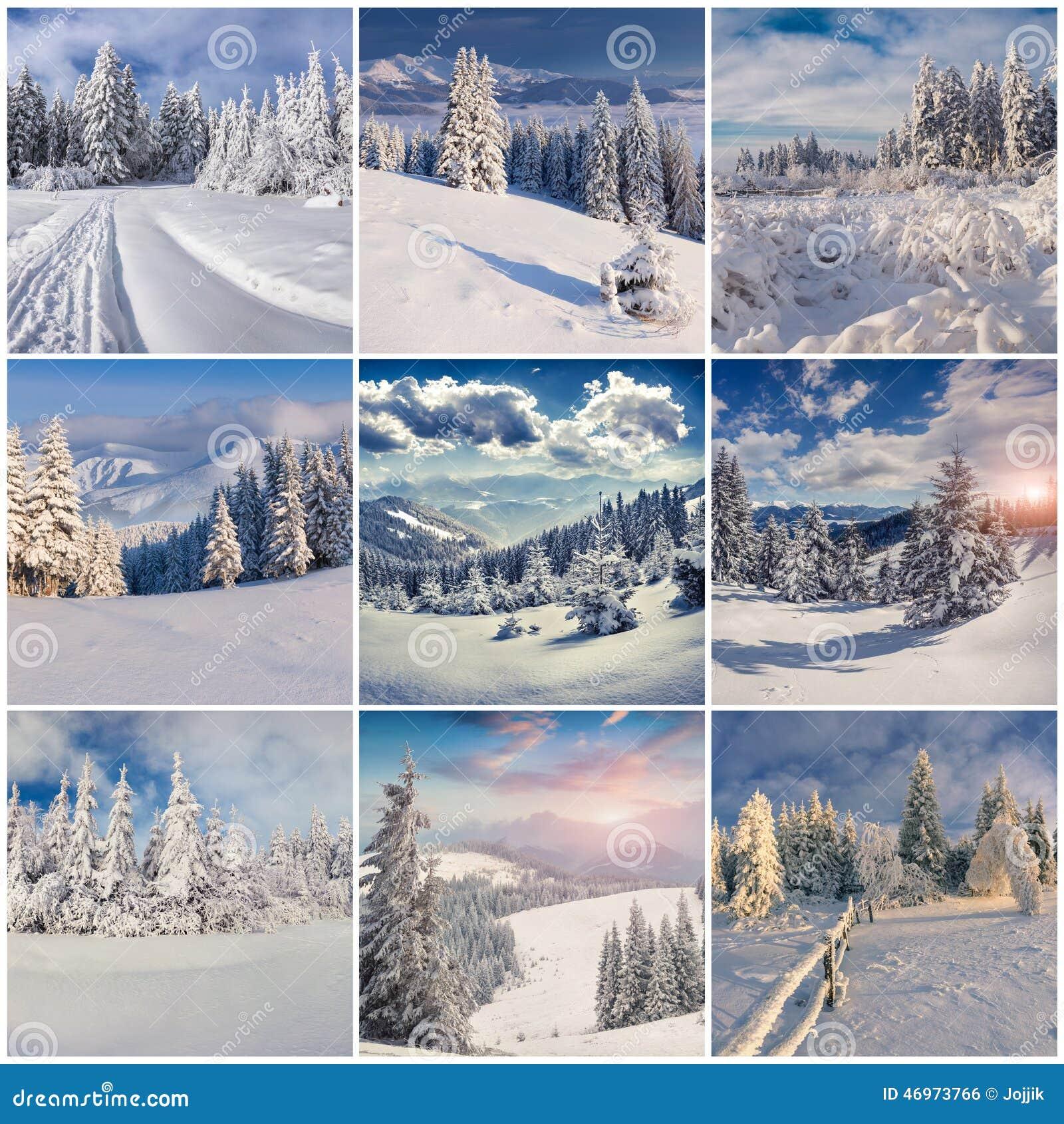 与9个攻略的圣诞节风景的冬天拼贴画镜技能璃幻方形图片
