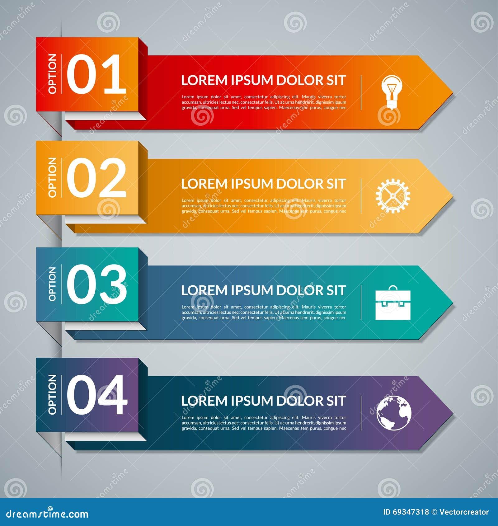 与4个步零件,选择的Infographic模板 导航与企业象和设计元素的横幅