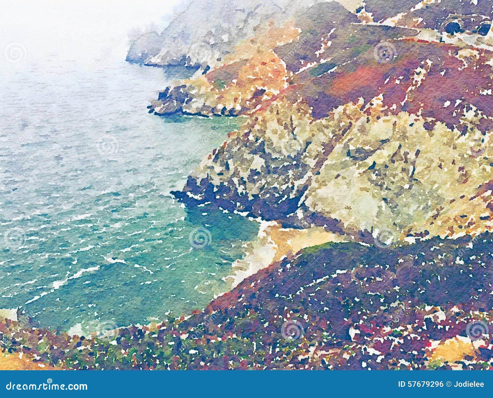 与水和山的水彩海洋沿海风景